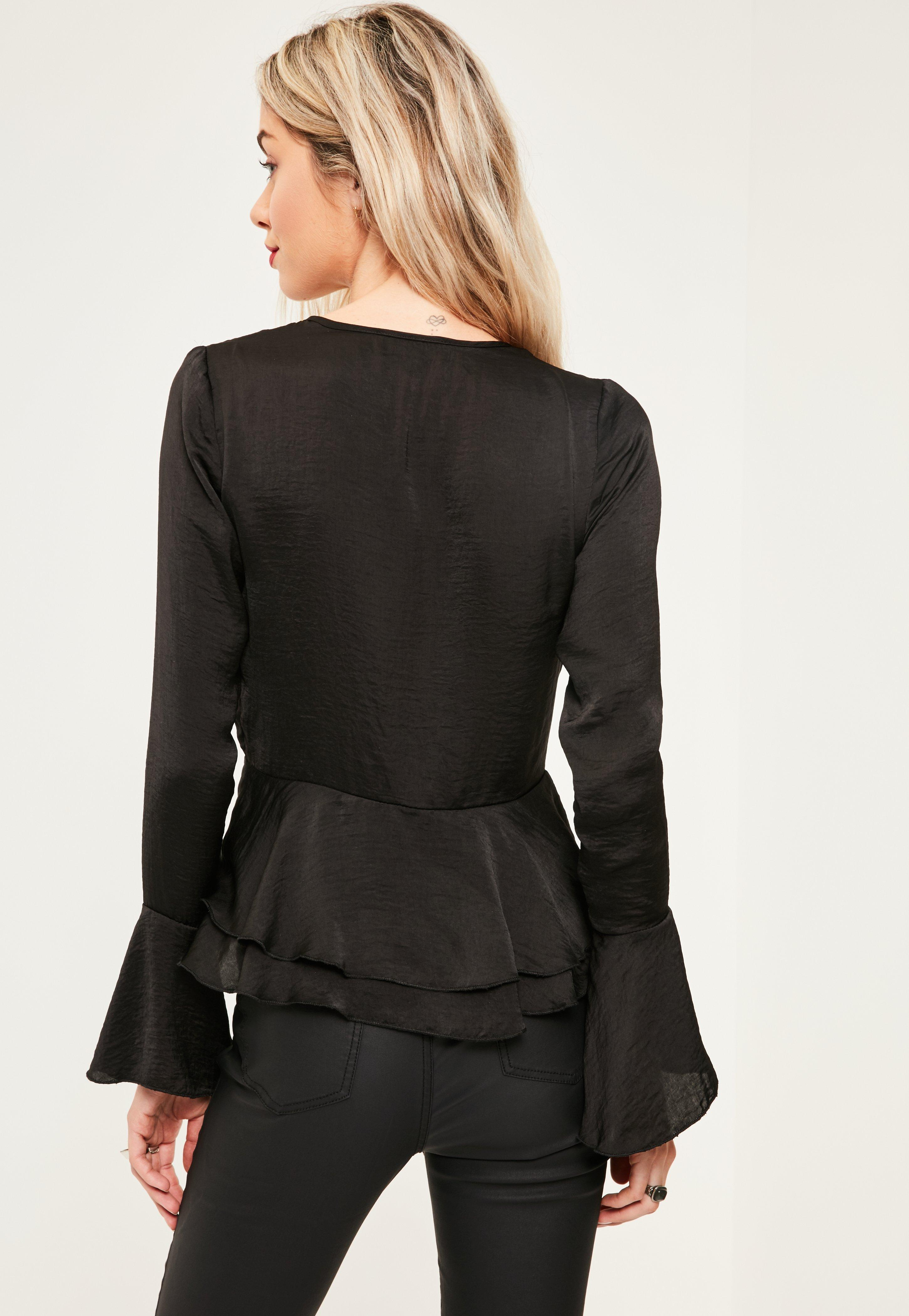 Missguided Black Trumpet Sleeve Plunge Frill Satin Blouse
