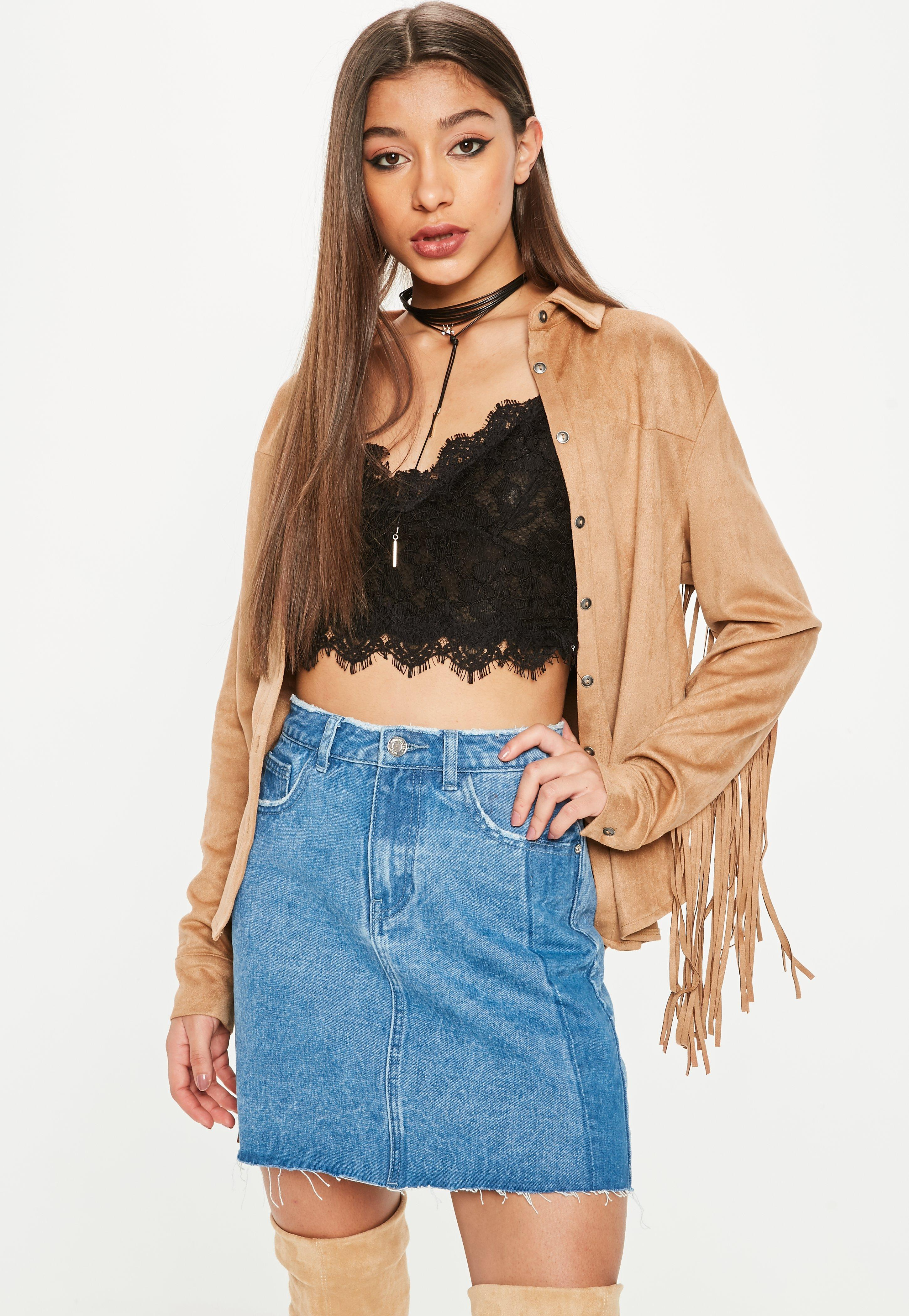a690cea9878f4 Lyst - Missguided Brown Western Suedette Fringe Back Shirt in Brown