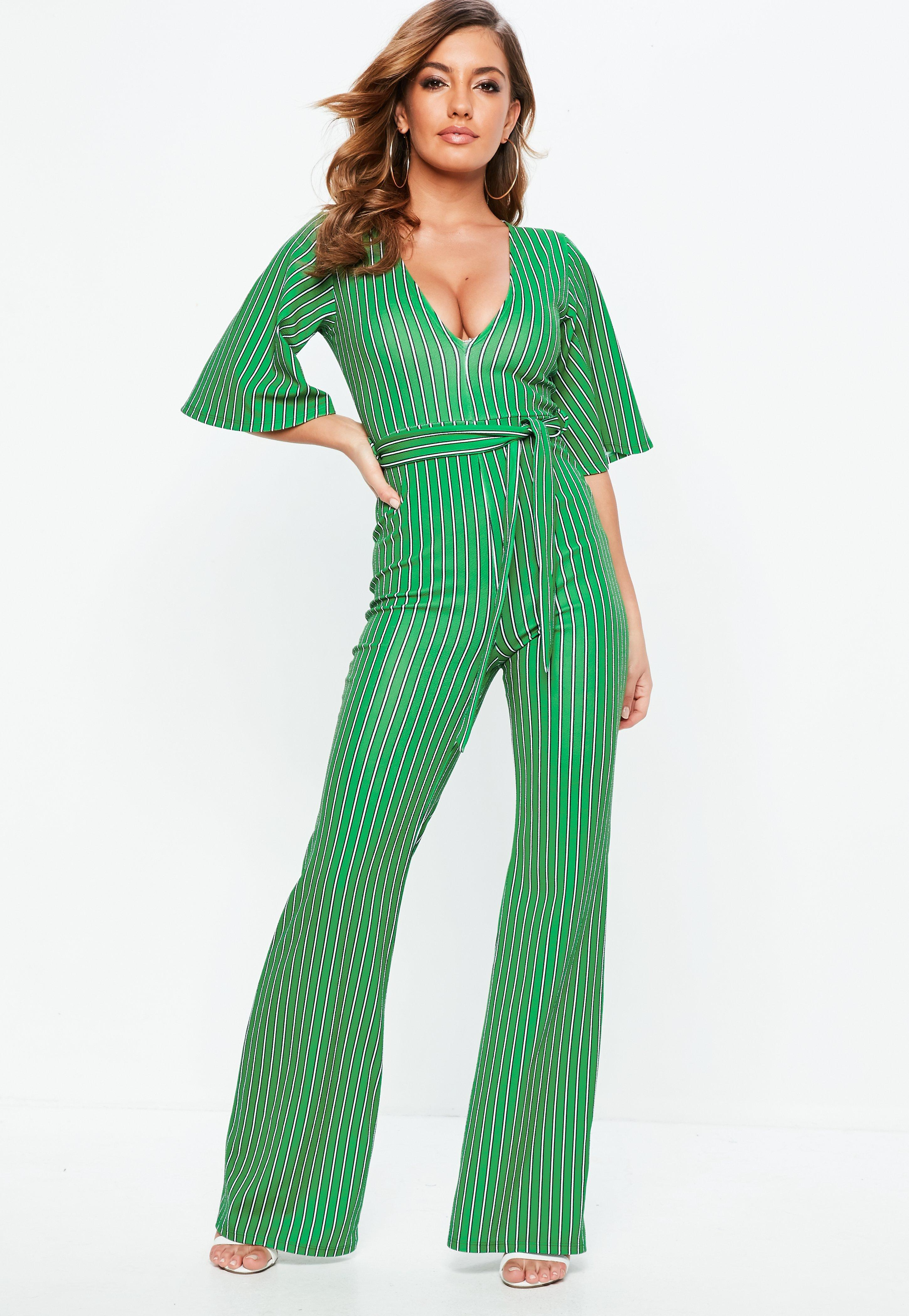 25dd0099b57 Lyst - Missguided Green Stripe Plunge Kimono Stripe Sleeve Jumpsuit ...