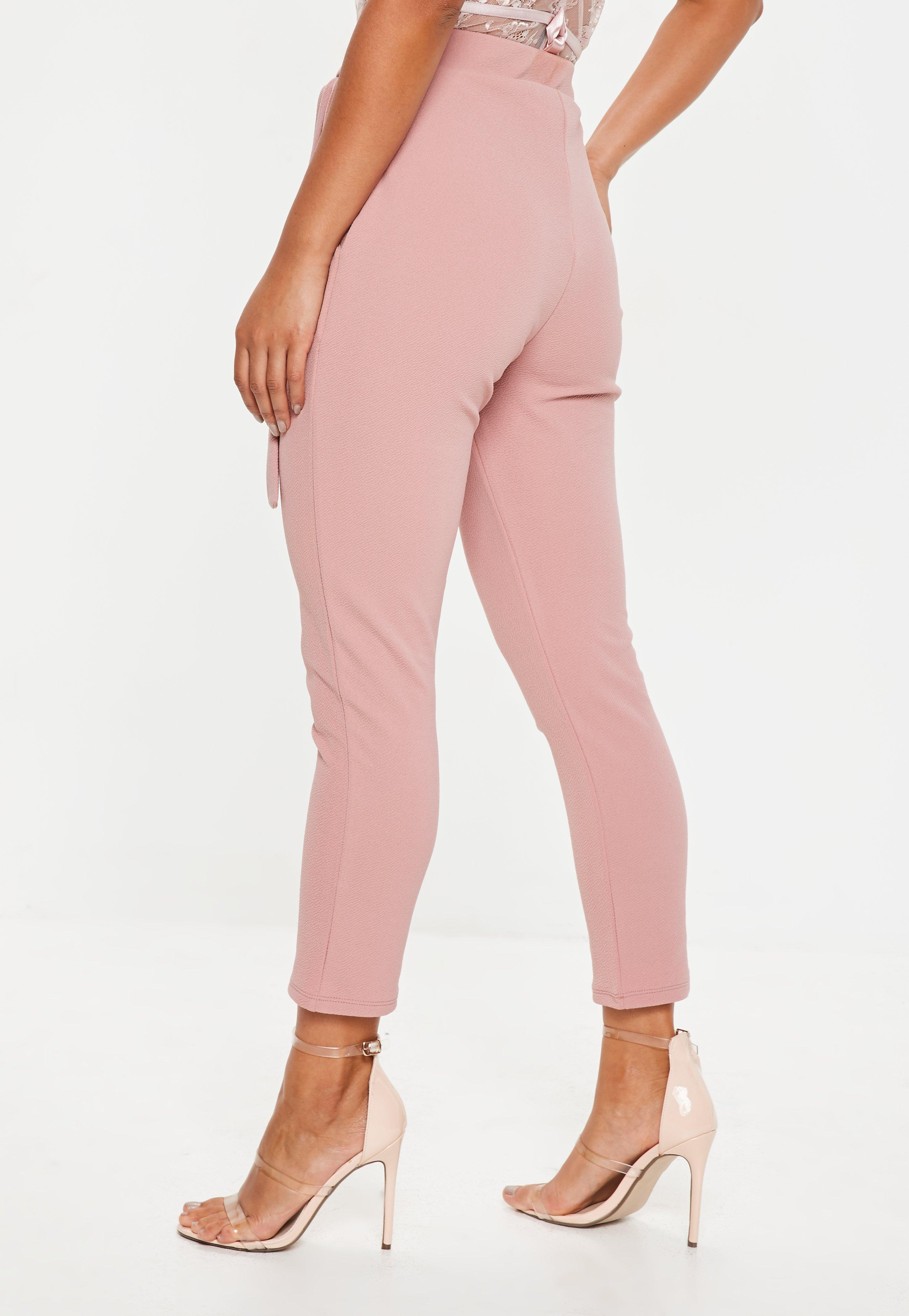 10f1008226650e Missguided - Natural Nude Stretch Crepe Tie Waist Cigarette Trousers -  Lyst. View fullscreen