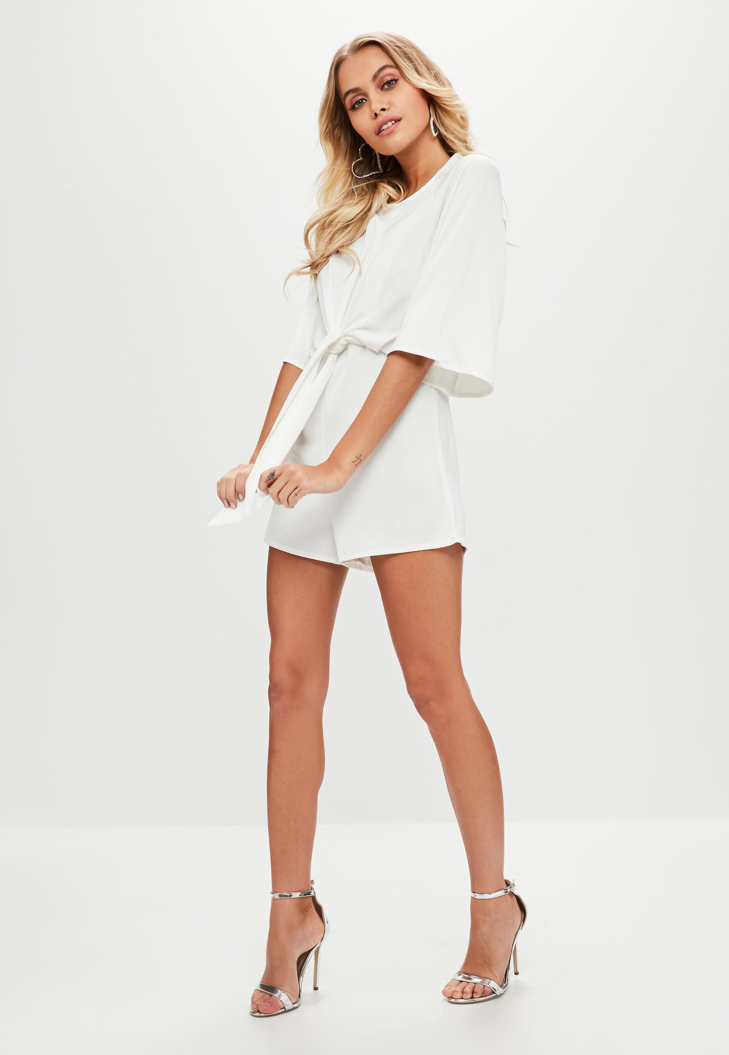 768f0c89fd7 Lyst - Missguided White Tie Front Kimono Sleeve Romper in White