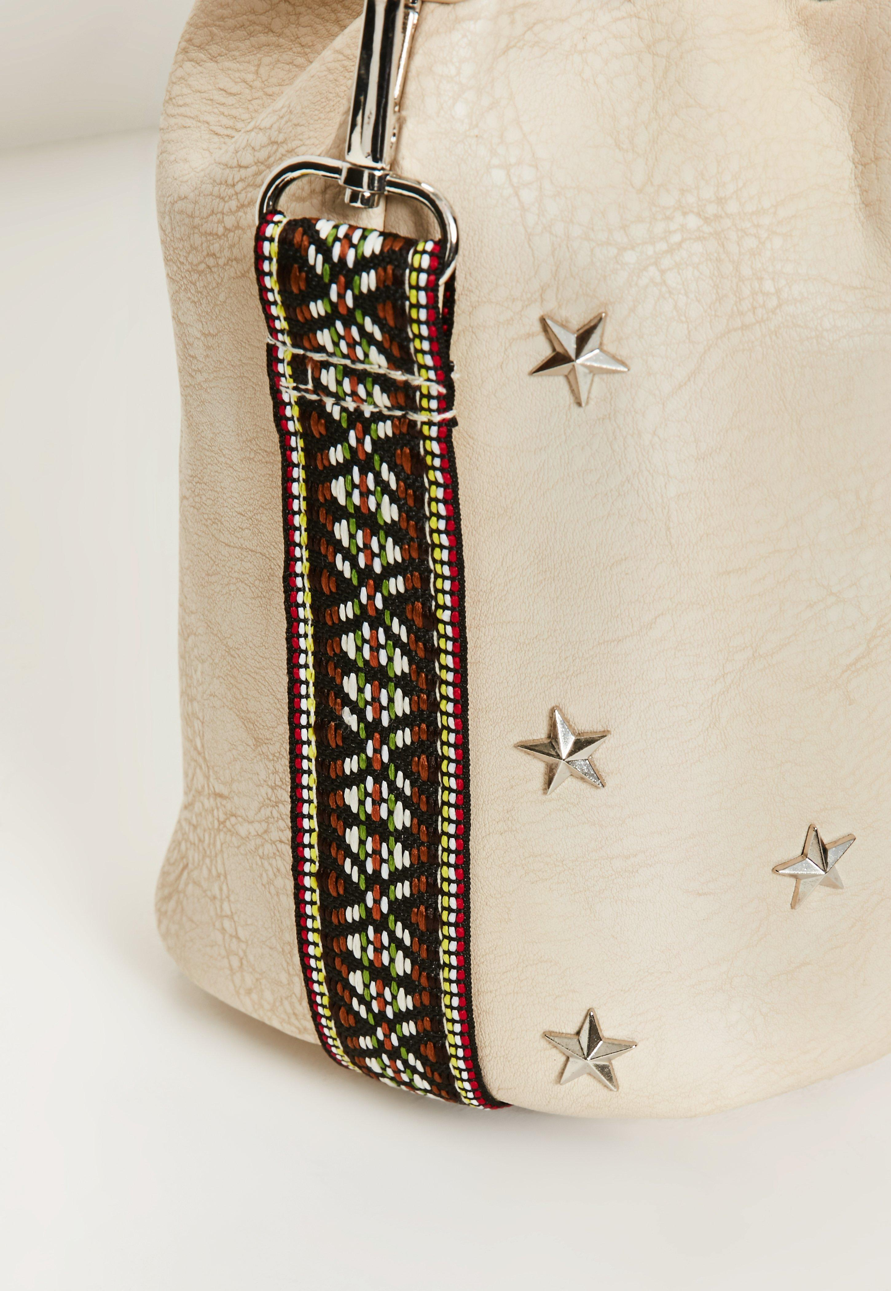 Missguided Star Studded Bucket Bag With Guitar Strap in Natural