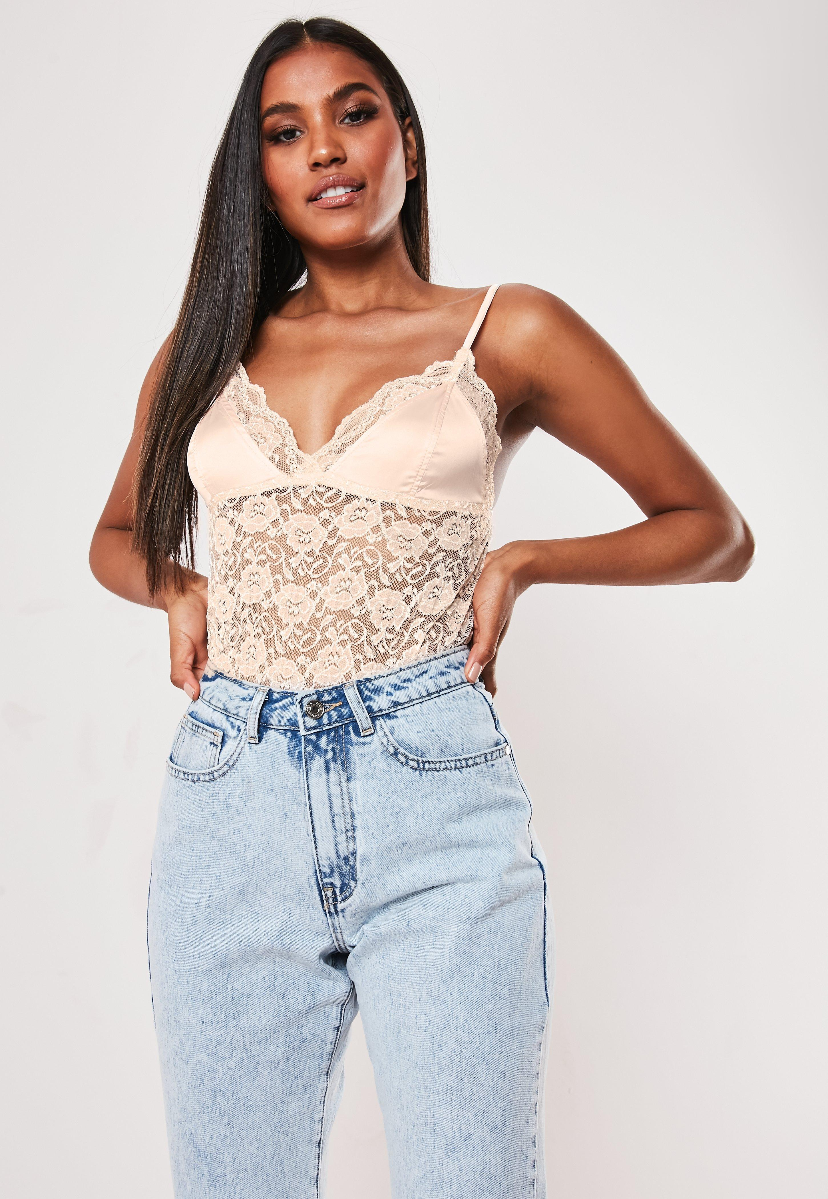 Lyst - Missguided Nude Lace Extreme Plunge Bralette in Natural