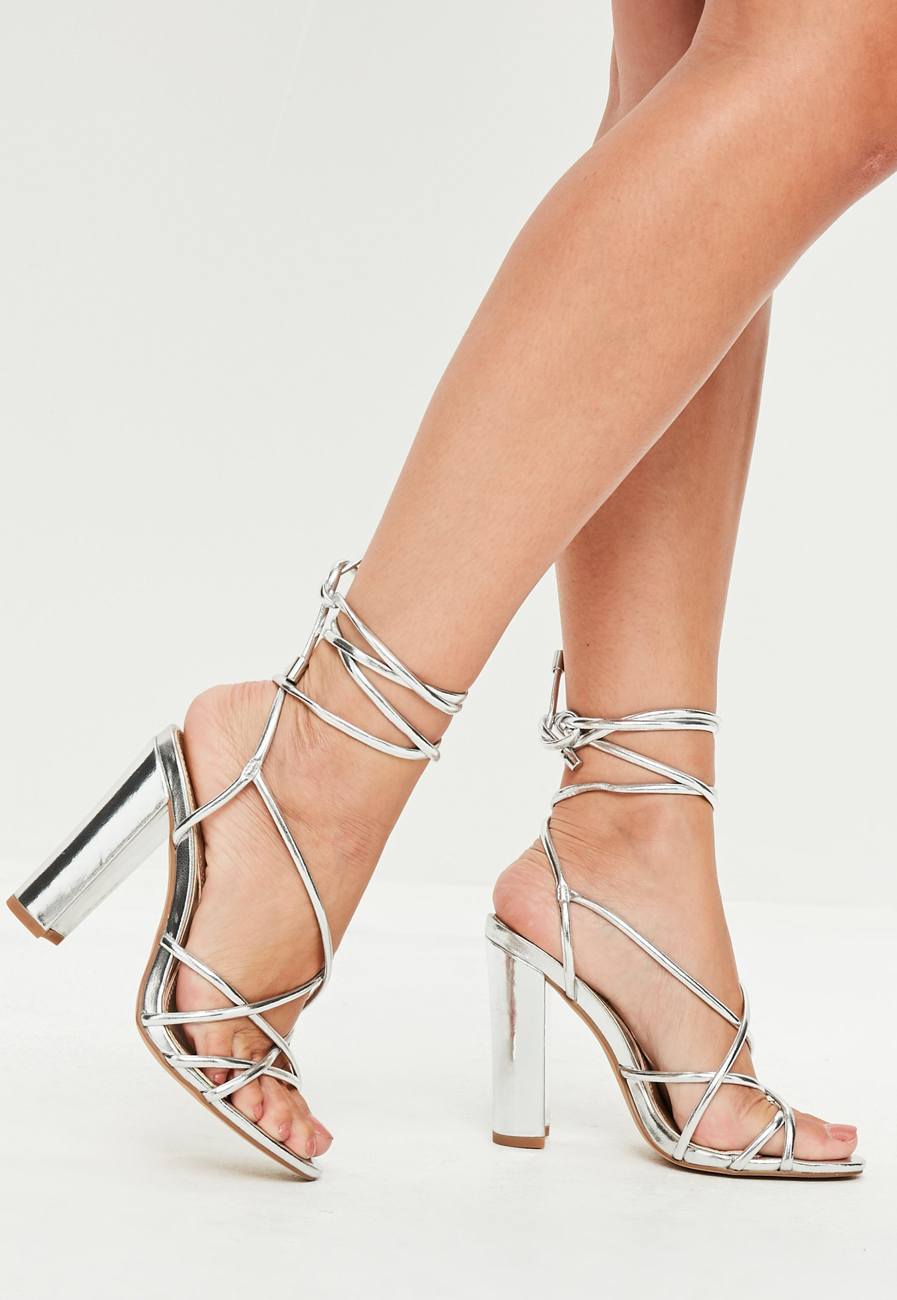 Missguided Silver Multi Strap Sandals In Metallic Lyst