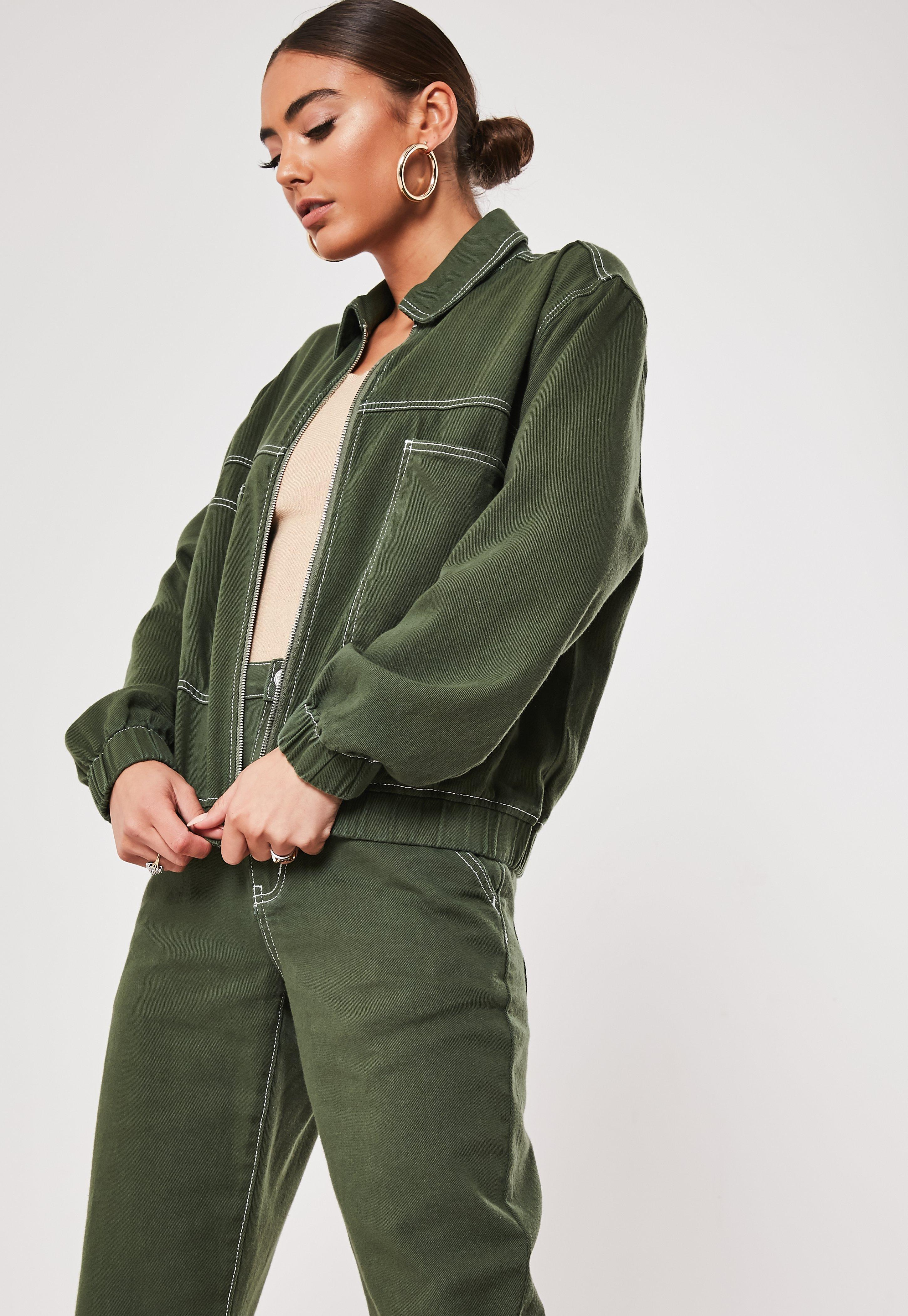 Missguided Green Co Ord Zip Through Contrast Stitch Denim ...