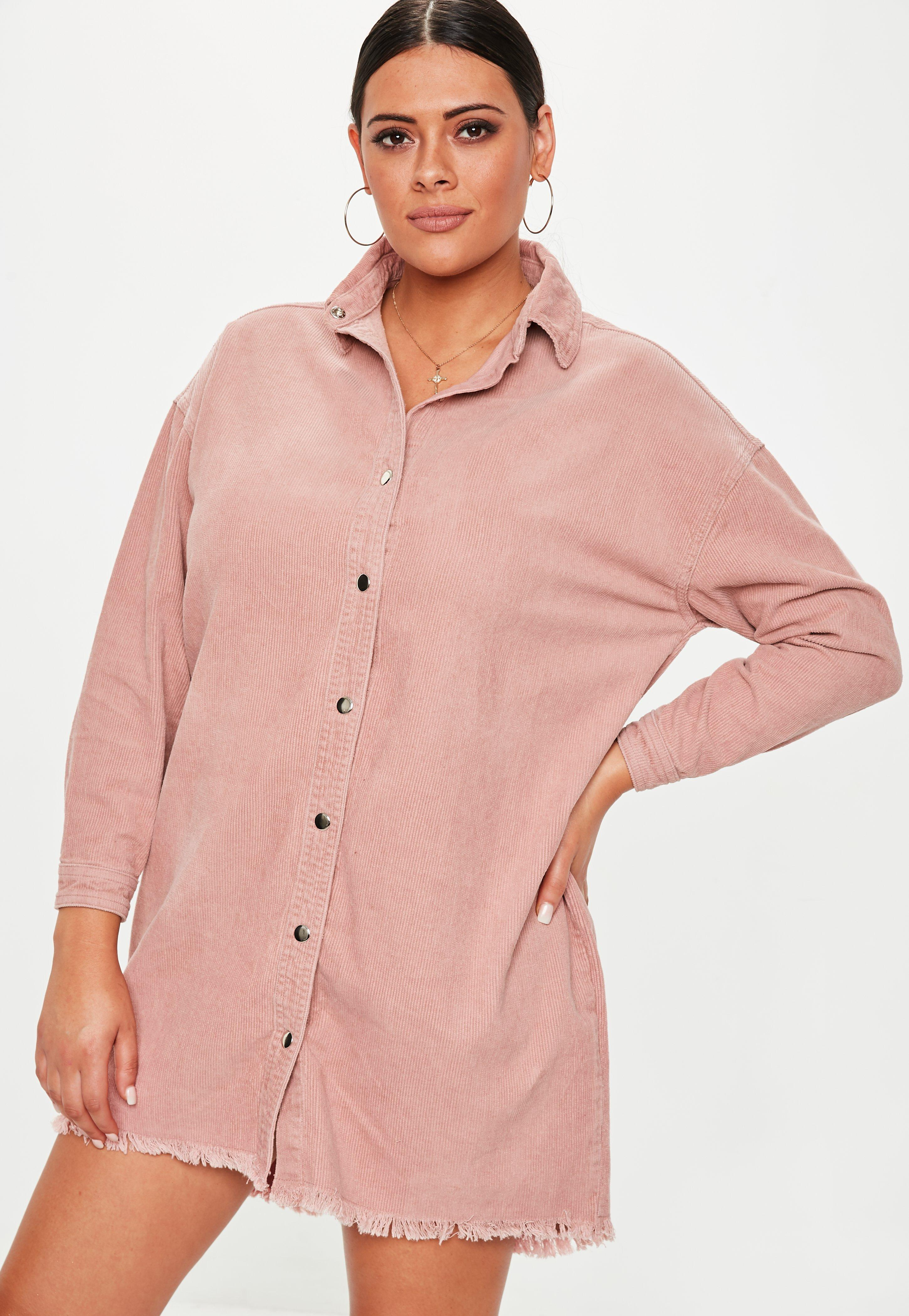 2763a39937b Missguided - Plus Size Dusky Pink Oversized Cord Shirt Dress - Lyst. View  fullscreen
