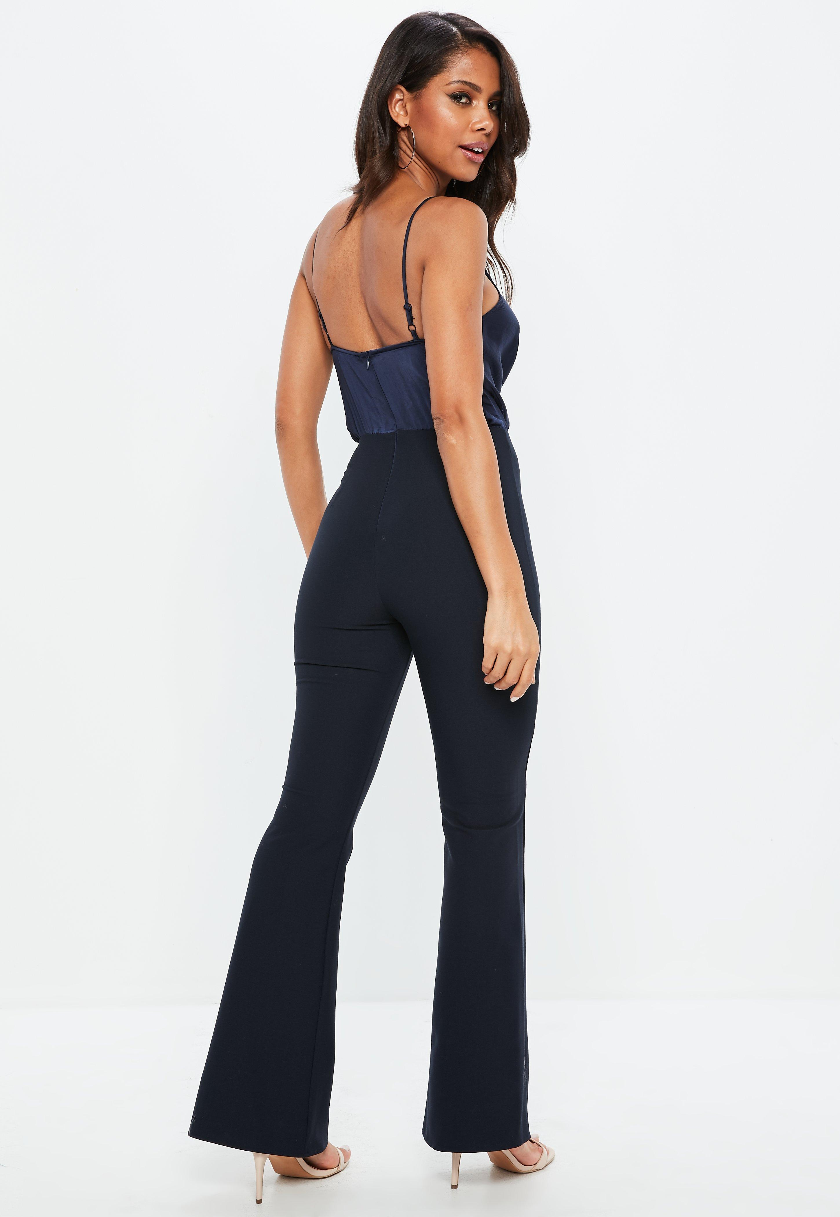 3474b7e3e8d Lyst - Missguided Navy Wrap Front Colour Block Jumpsuit in Blue