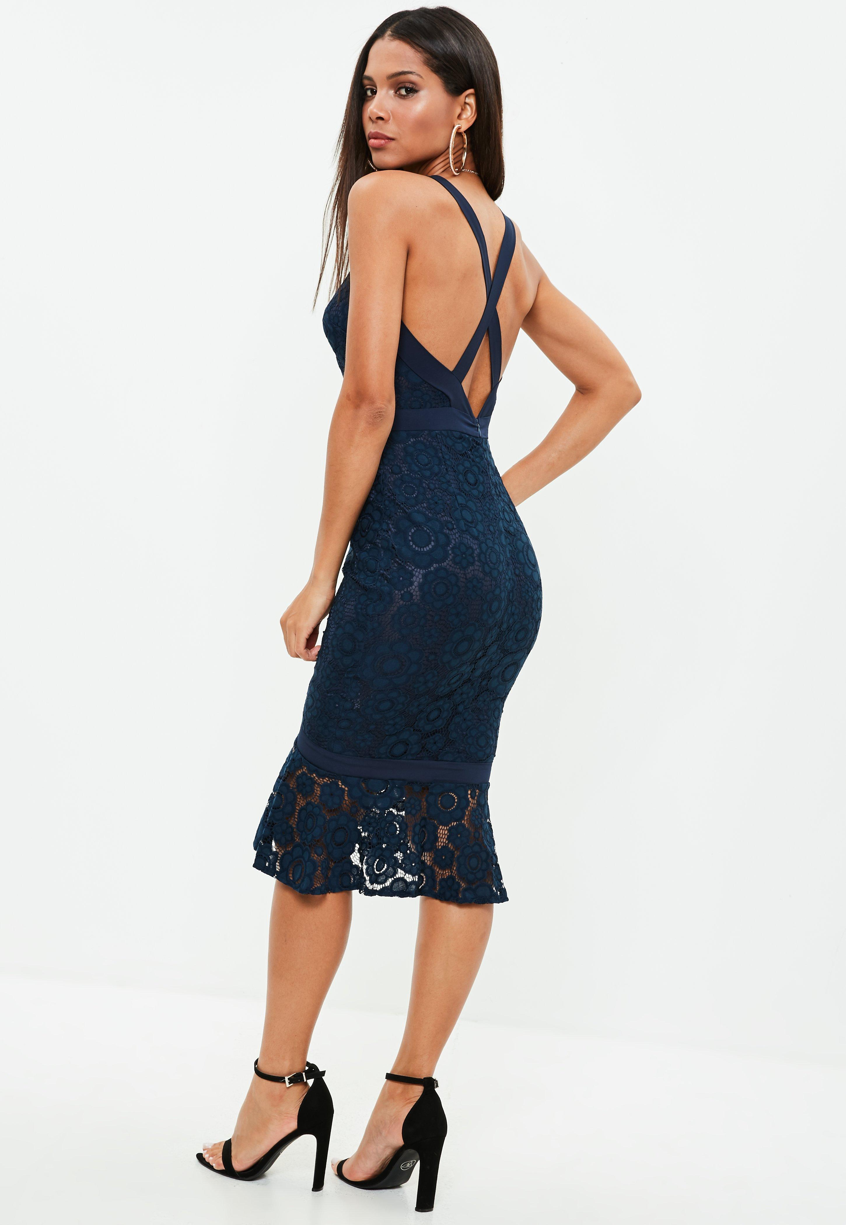 9de328dbbc17 Lyst - Missguided Navy Strappy Lace Frill Hem Midi Dress in Blue