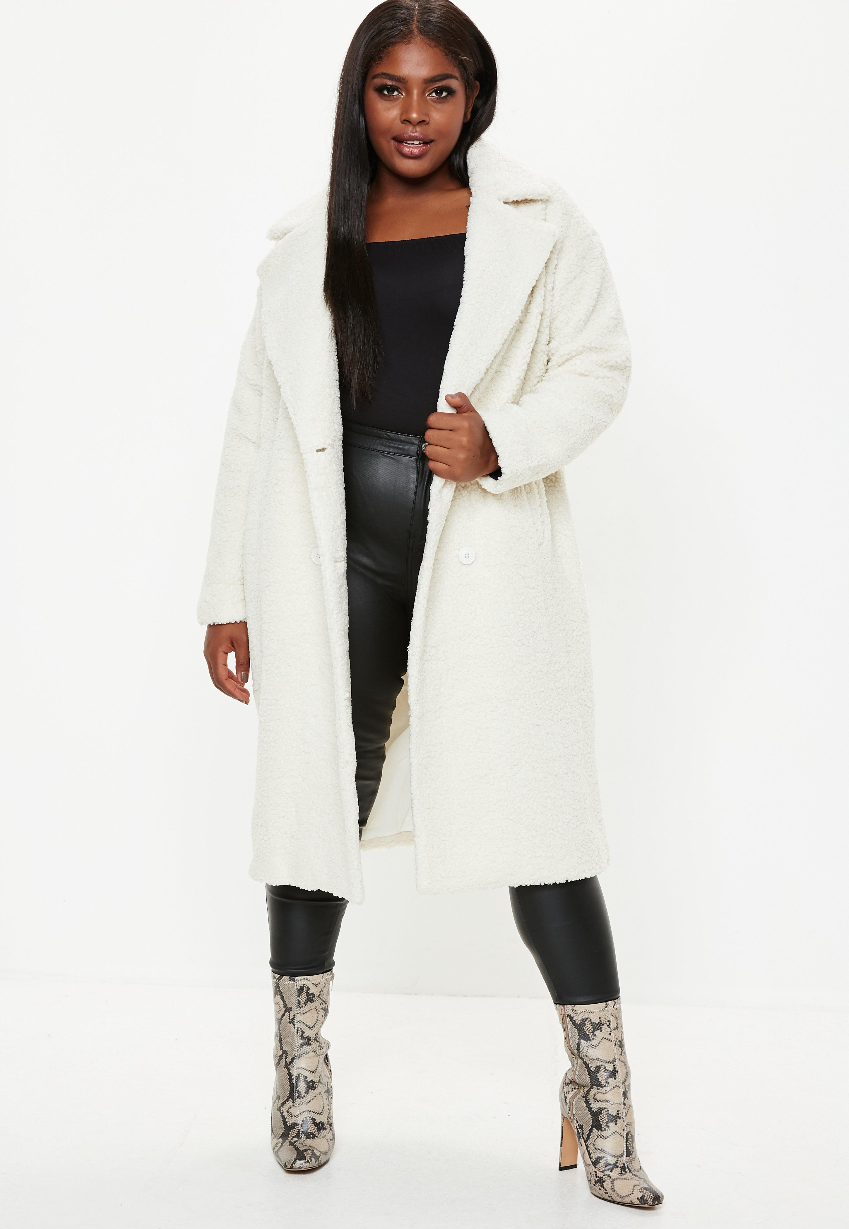 71f21479903c4 Lyst - Missguided Plus Size Cream Longline Teddy Coat in Natural
