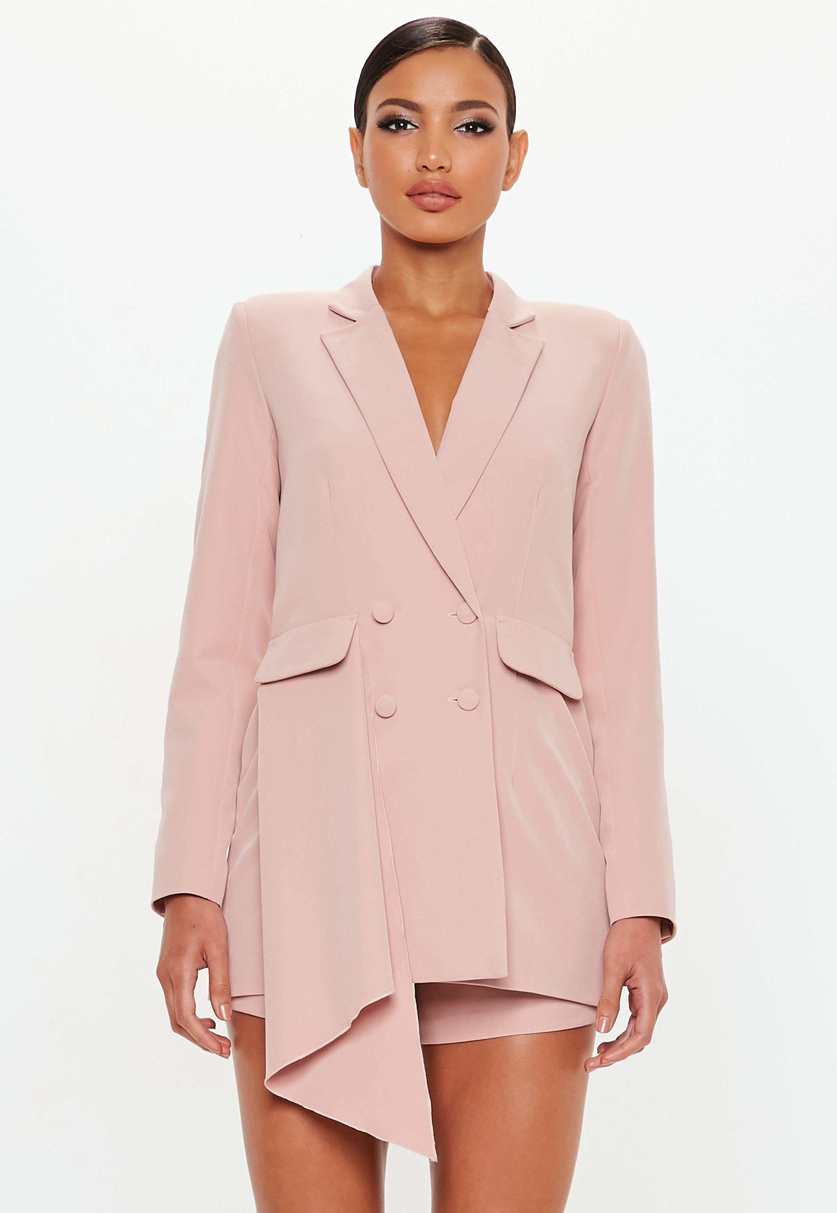 3fa8b3ea70d Lyst - Missguided Peace + Love Rose Tuxedo Blazer Playsuit in Pink