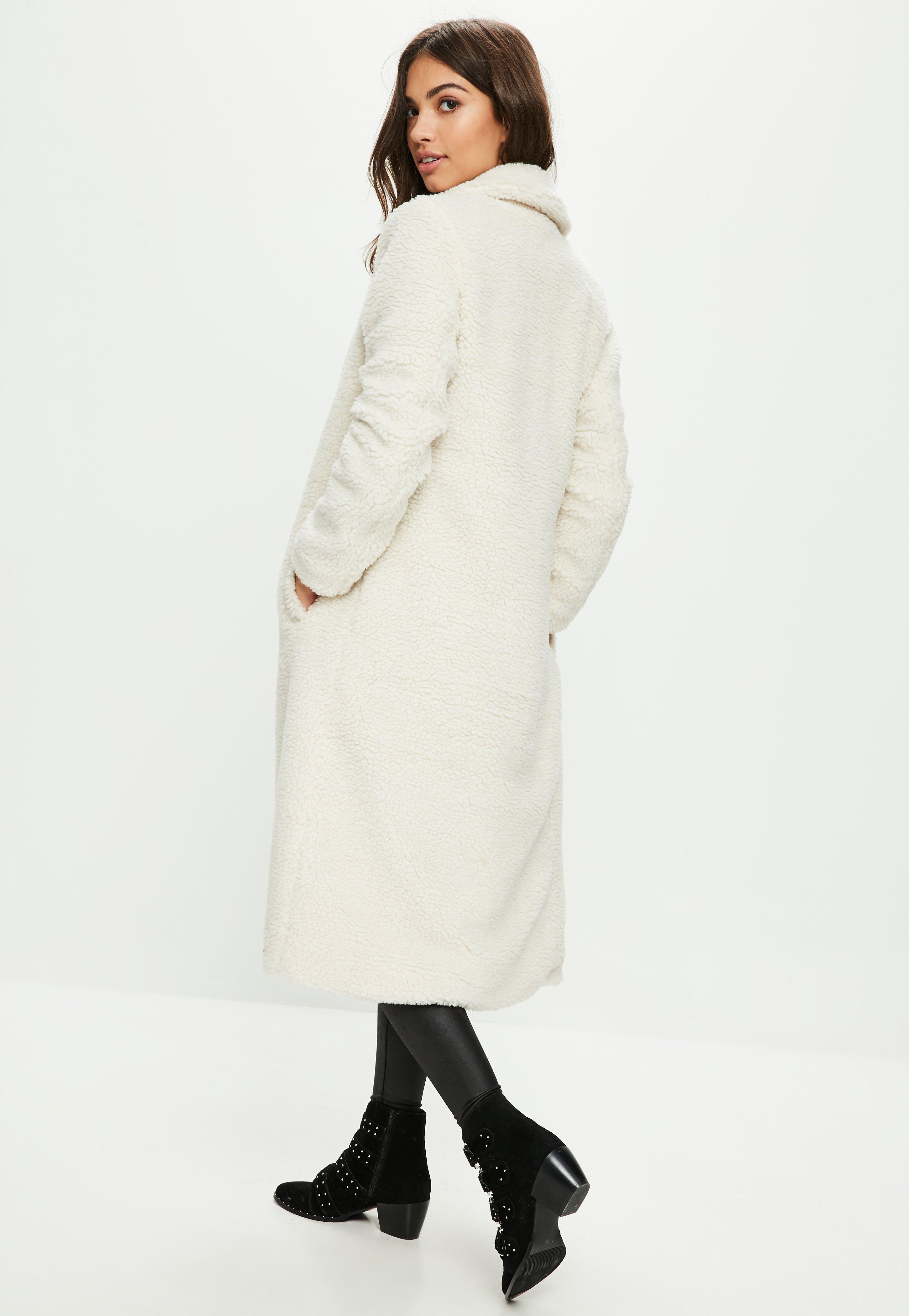 88b4b69c6 Lyst - Missguided Cream Borg Teddy Coat in Natural
