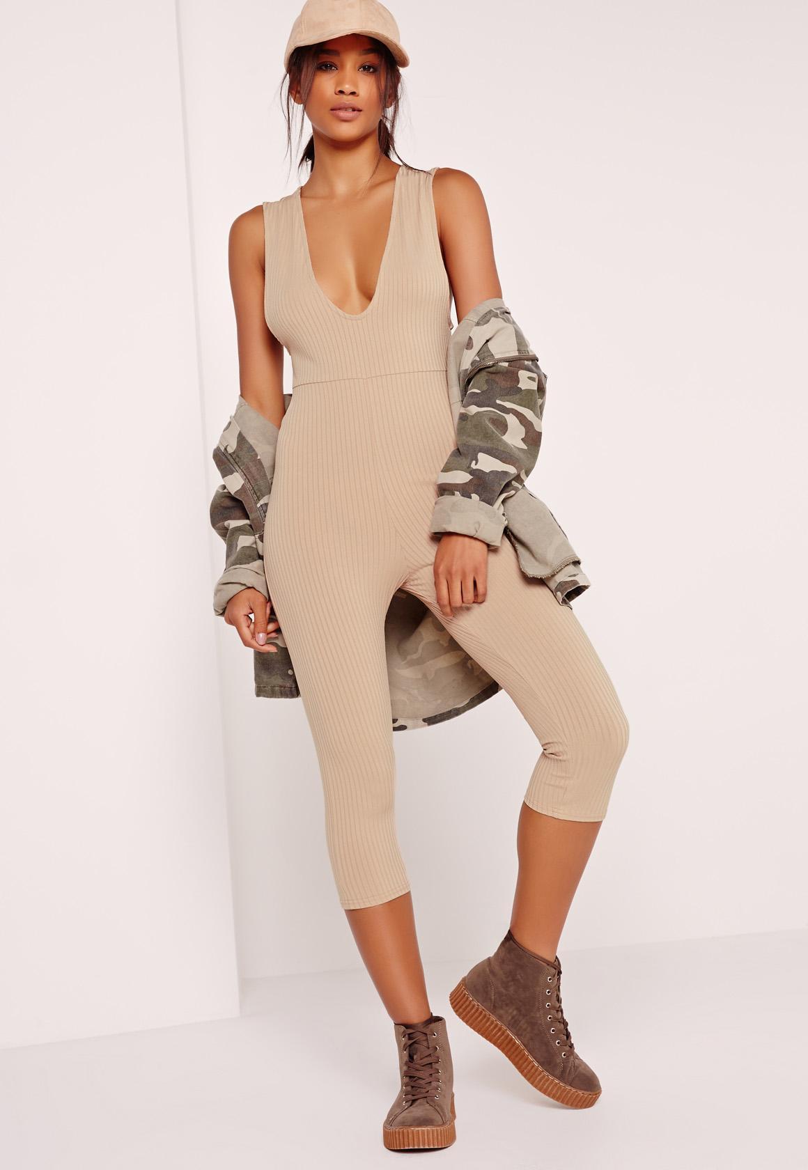 91473e0a5b9 Lyst - Missguided Ribbed Sleeveless 3 4 Leg Unitard Jumpsuit Camel