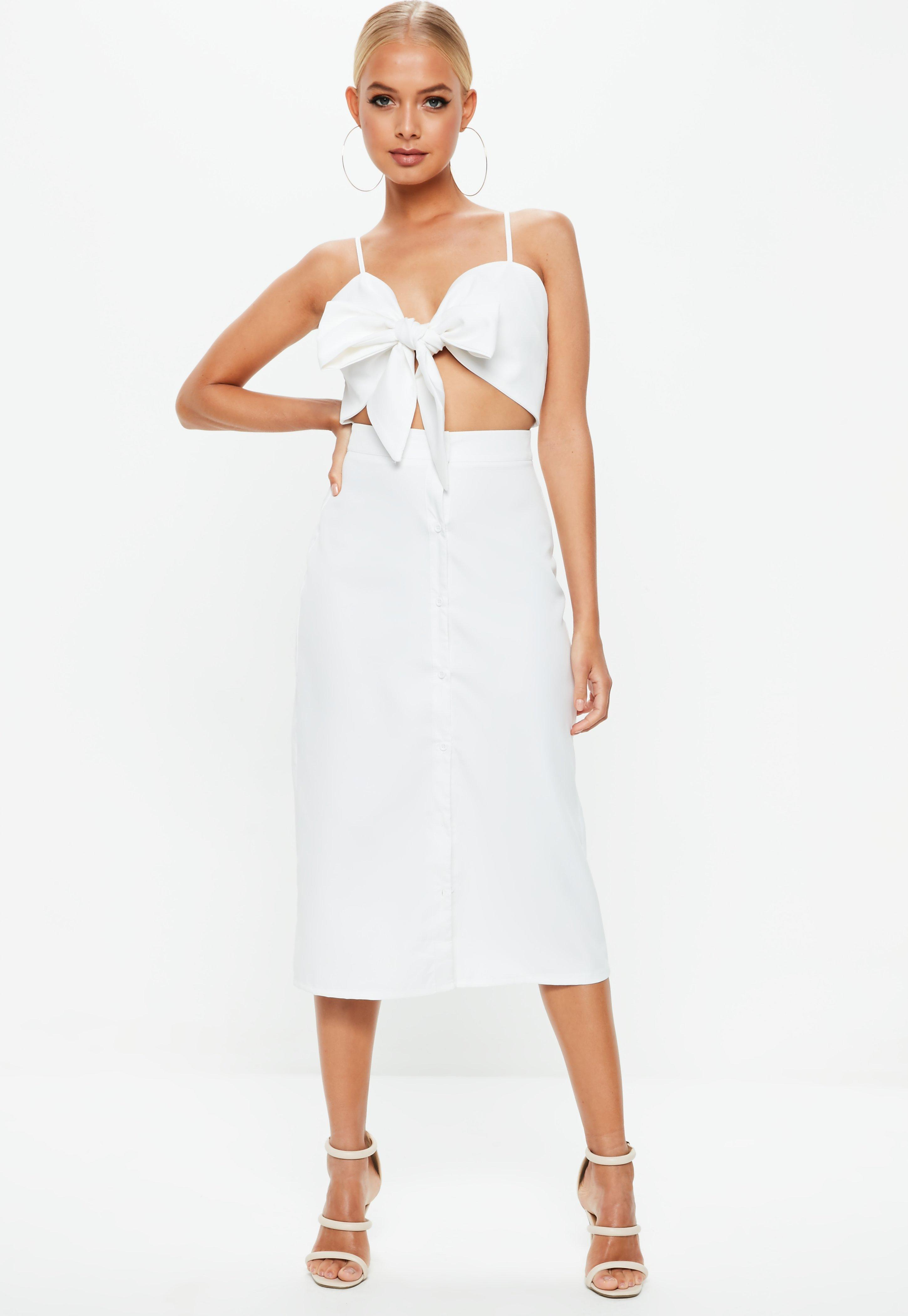 5c5353c8 Missguided White Tie Front Button Down Strappy Midi Dress in White ...
