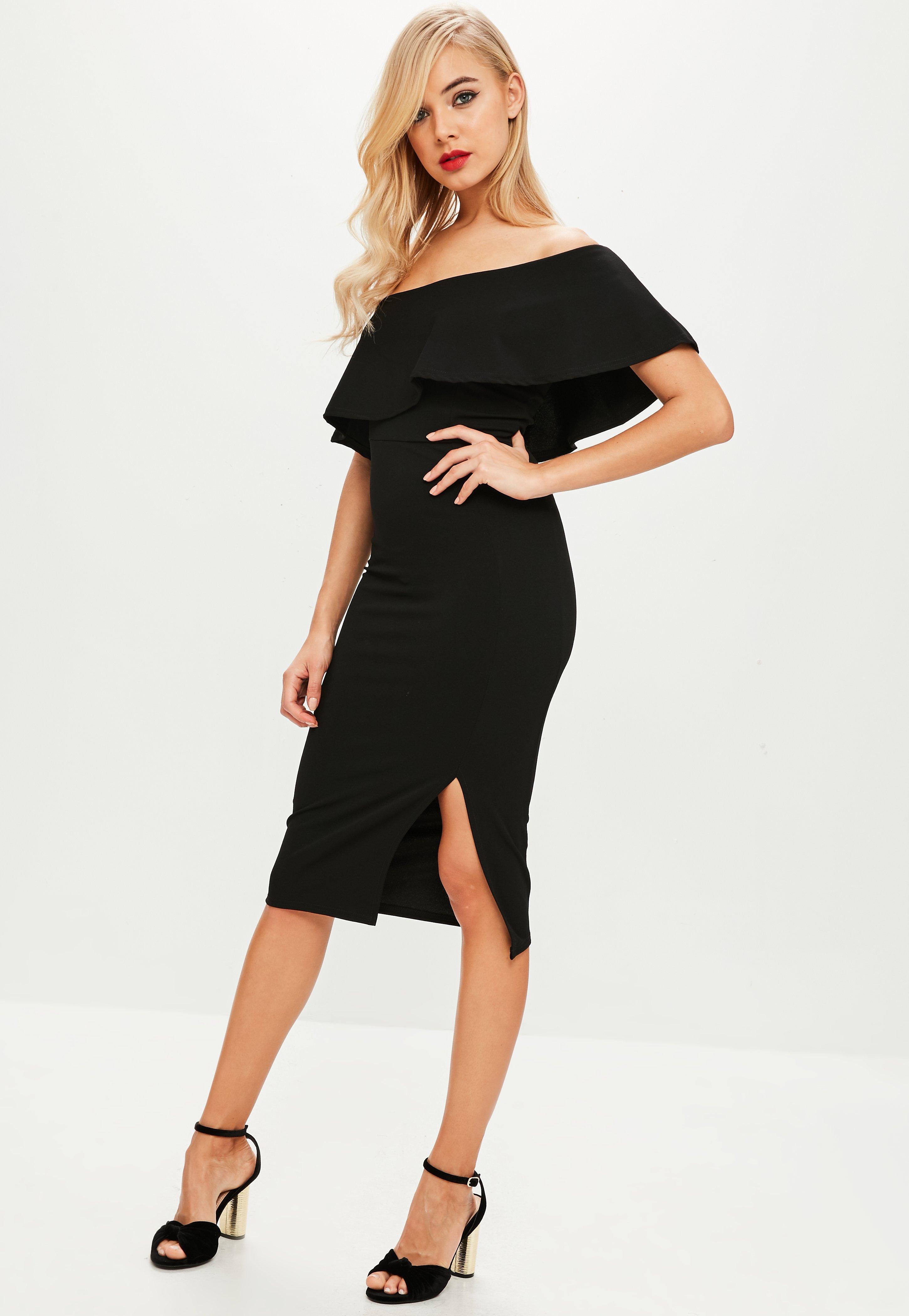 50a581c436 Missguided Black One Shoulder Midi Dress in Black - Save ...
