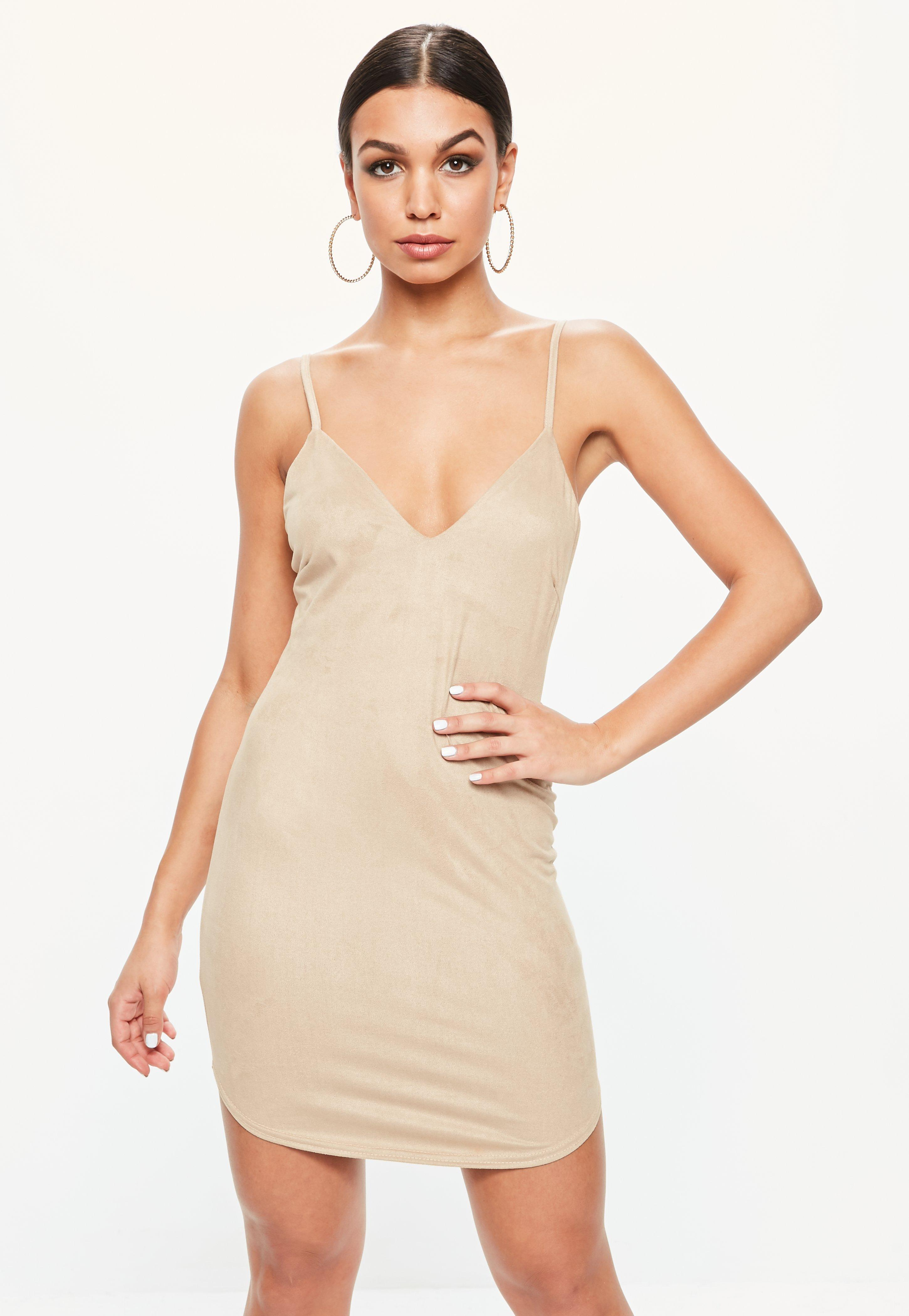 215a1c4da069 Missguided Tan Faux Suede Strappy Plunge Bodycon Dress - Lyst