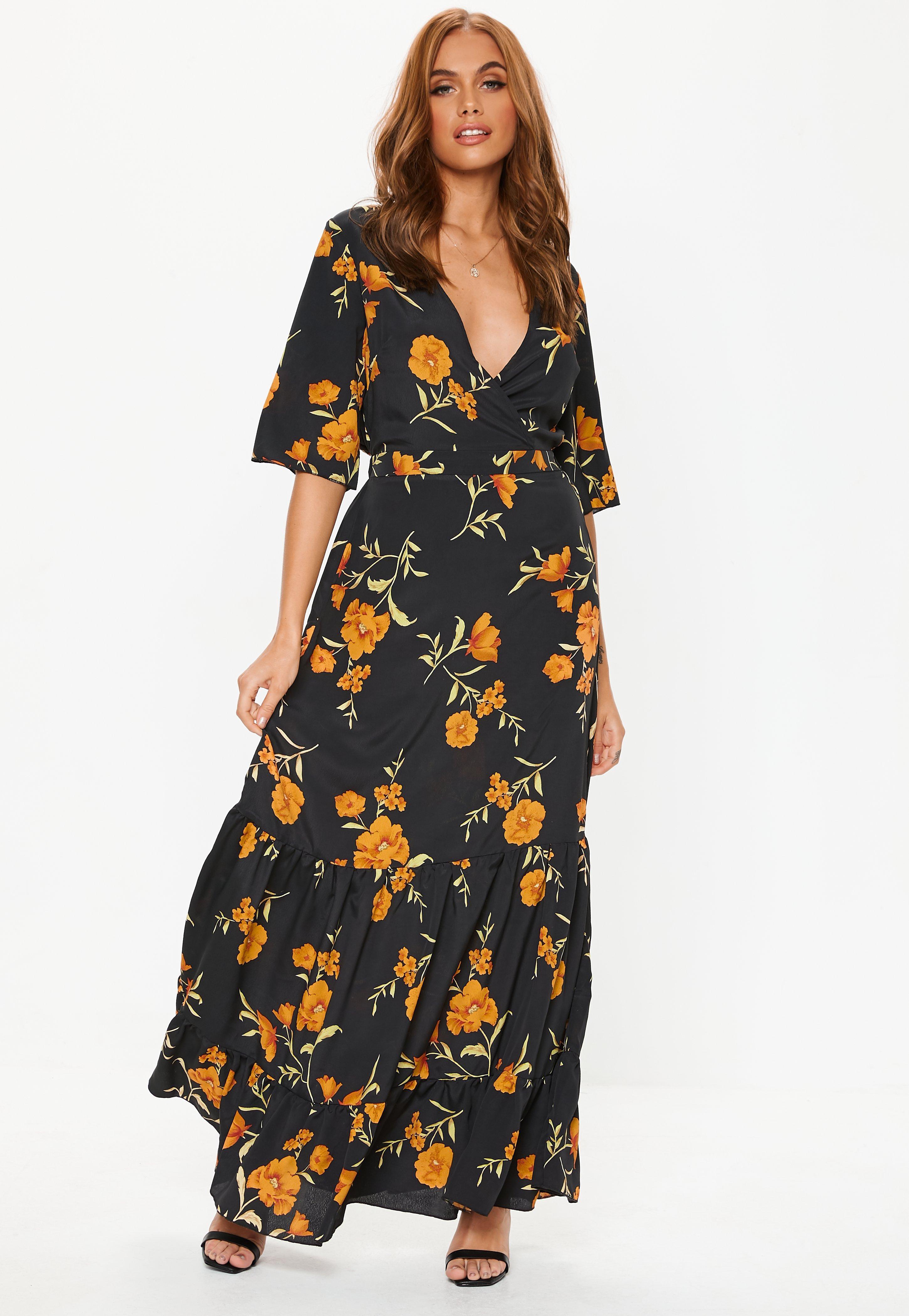Missguided - Black Floral Frill Hem Maxi Dress - Lyst. View fullscreen af167e630