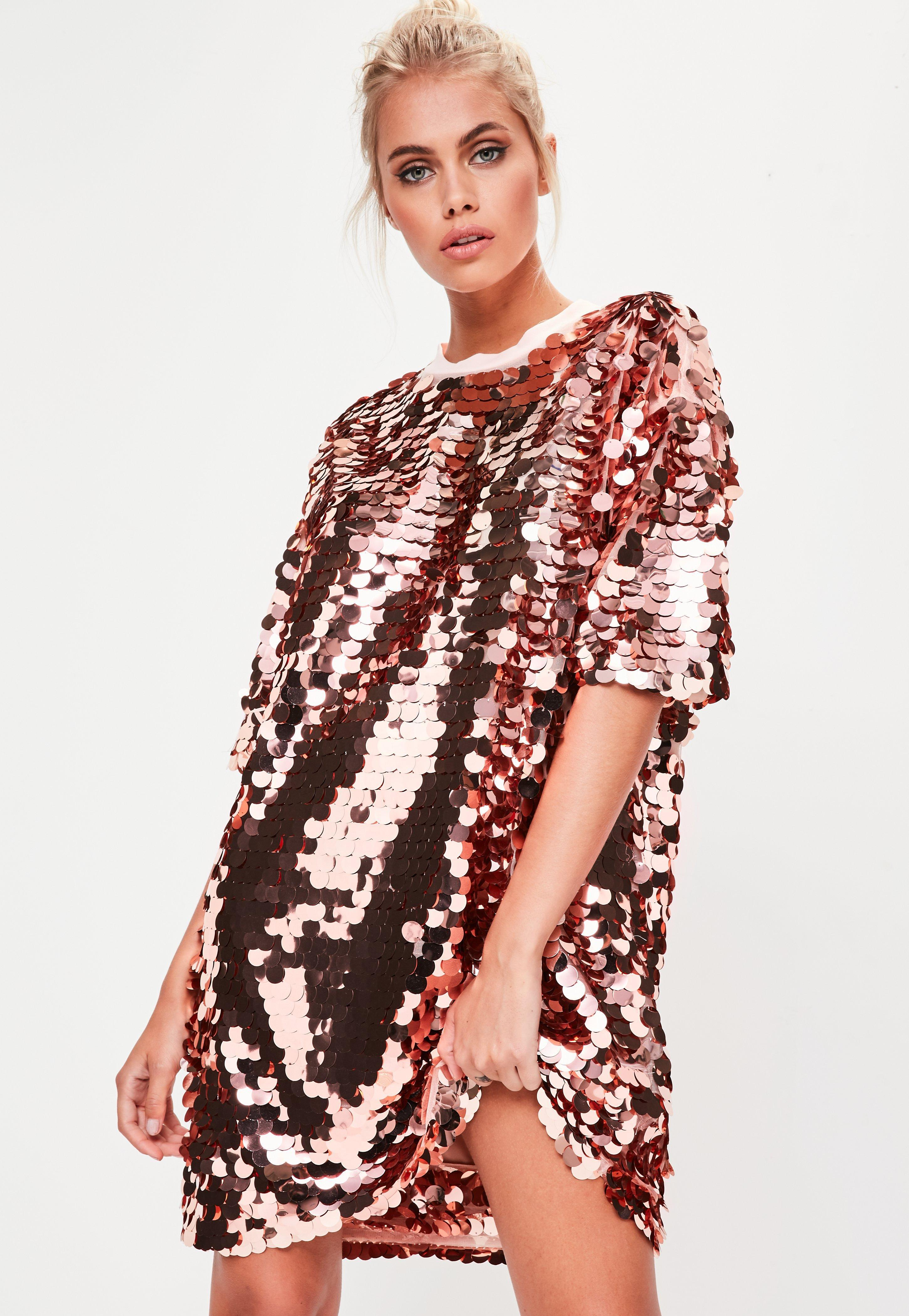 6fa765f074181 Lyst - Missguided Rose Gold Sequin T-shirt Dress in Pink