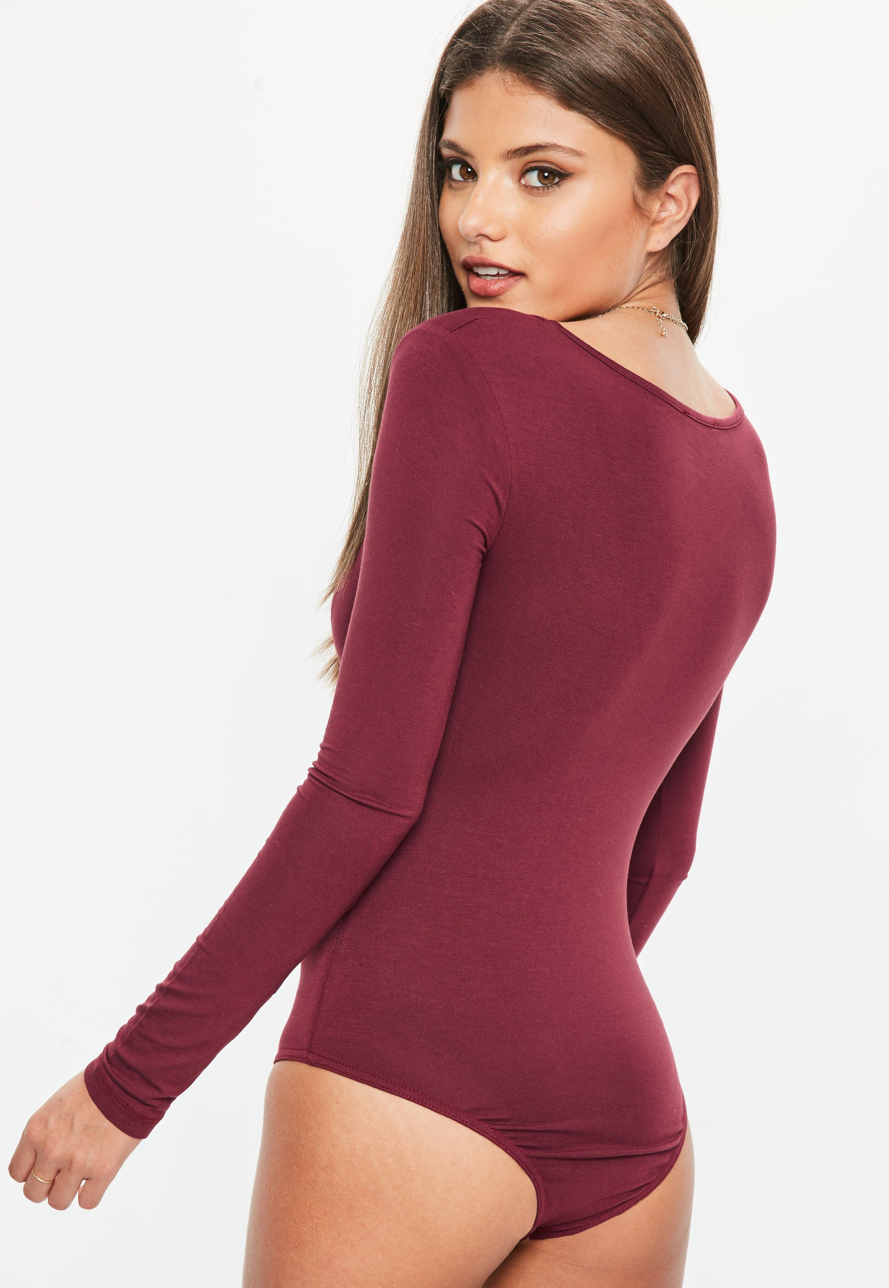 1b9c1823c8 Missguided Burgundy Long Sleeve Plunge Neck Bodysuit - Lyst