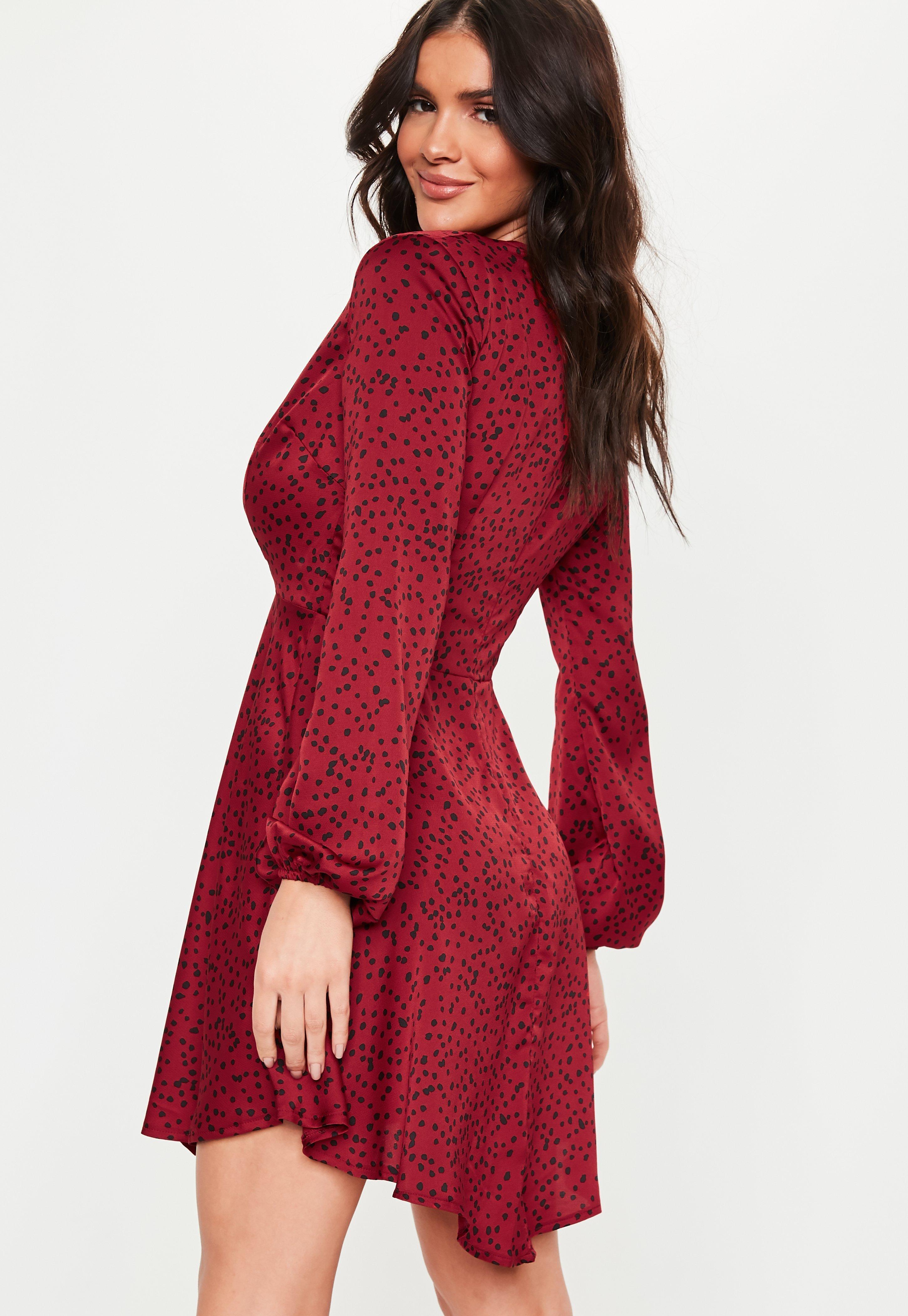 9f6cb5c7dcf Missguided - Tall Red Satin Spot Print Skater Dress - Lyst. View fullscreen
