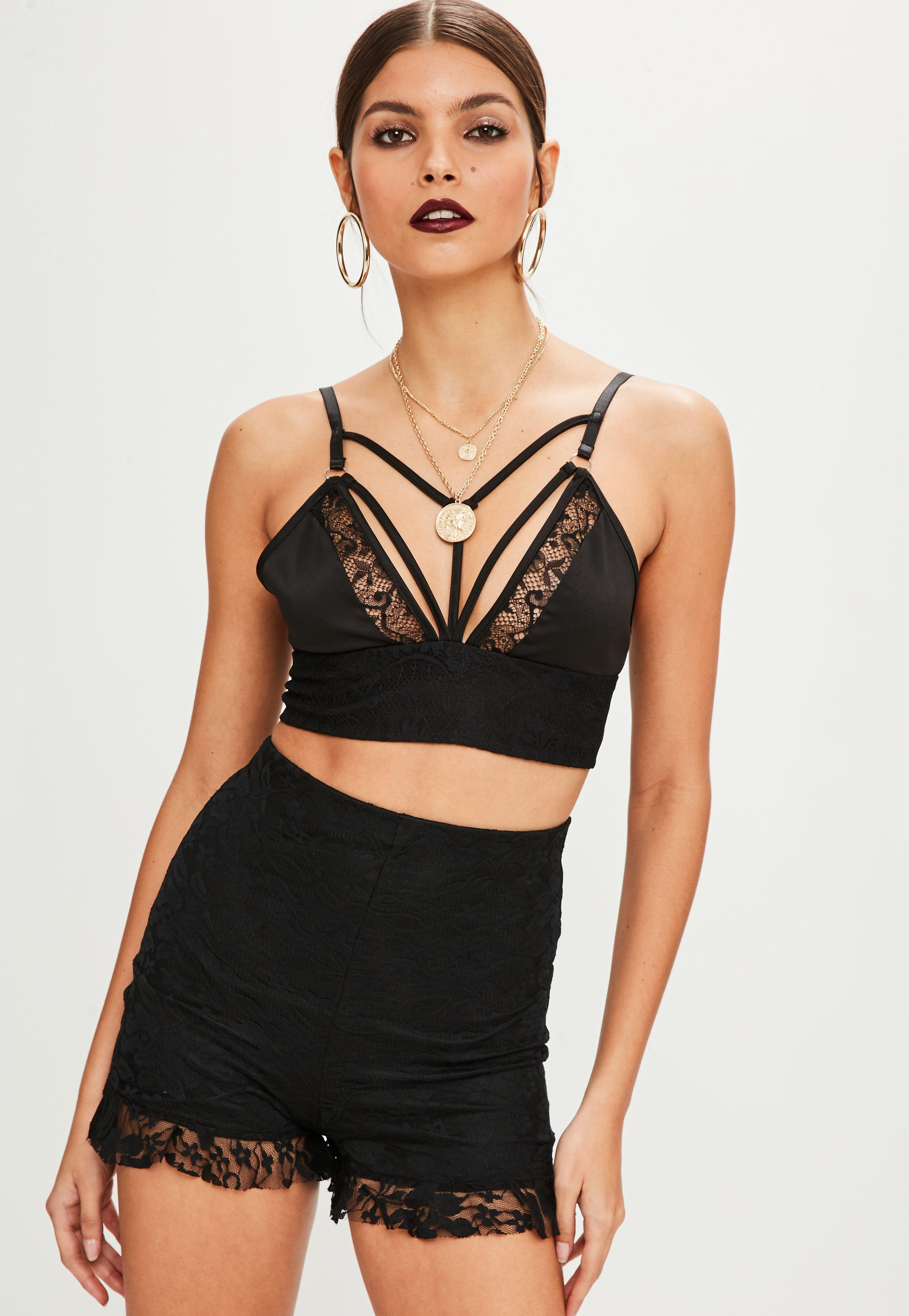 d5892901ba Lyst - Missguided Tall Black Harness Lace Bralette in Black - Save 53%