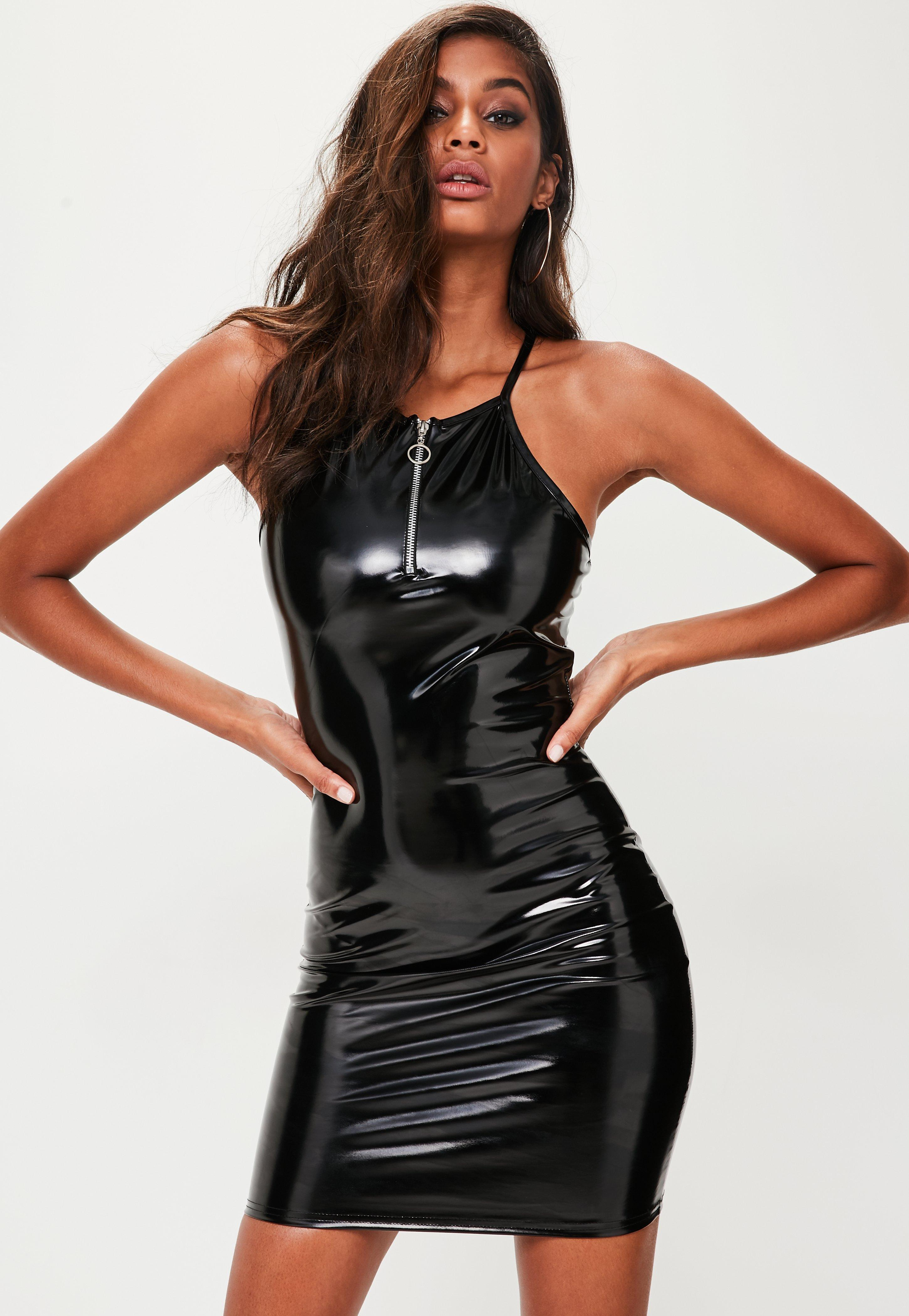 Lyst Missguided Black Vinyl Bodycon Dress In Black