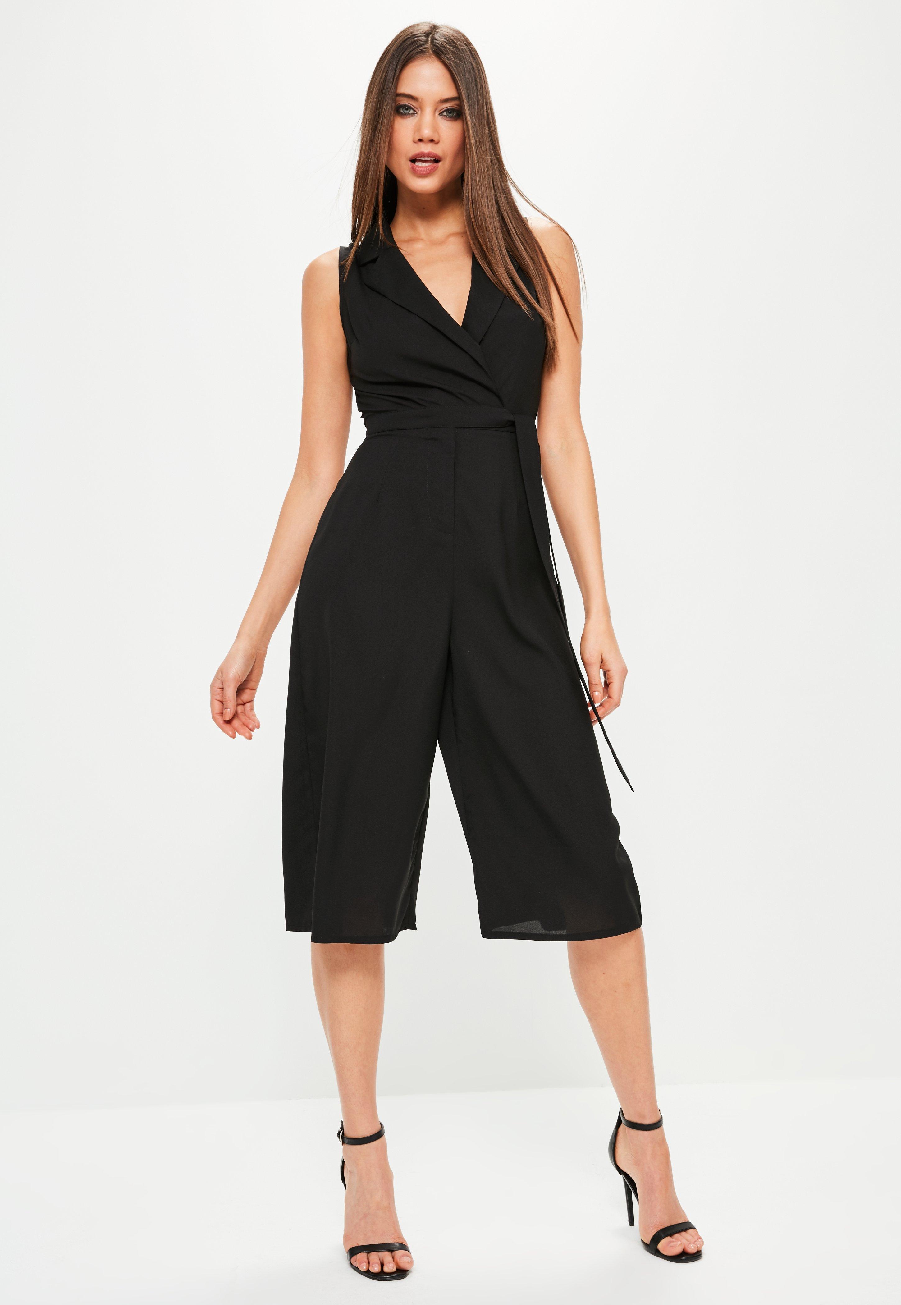 97716d30e846 Missguided Petite Black Tuxedo Sleeveless Wrap Jumpsuit in Black - Lyst