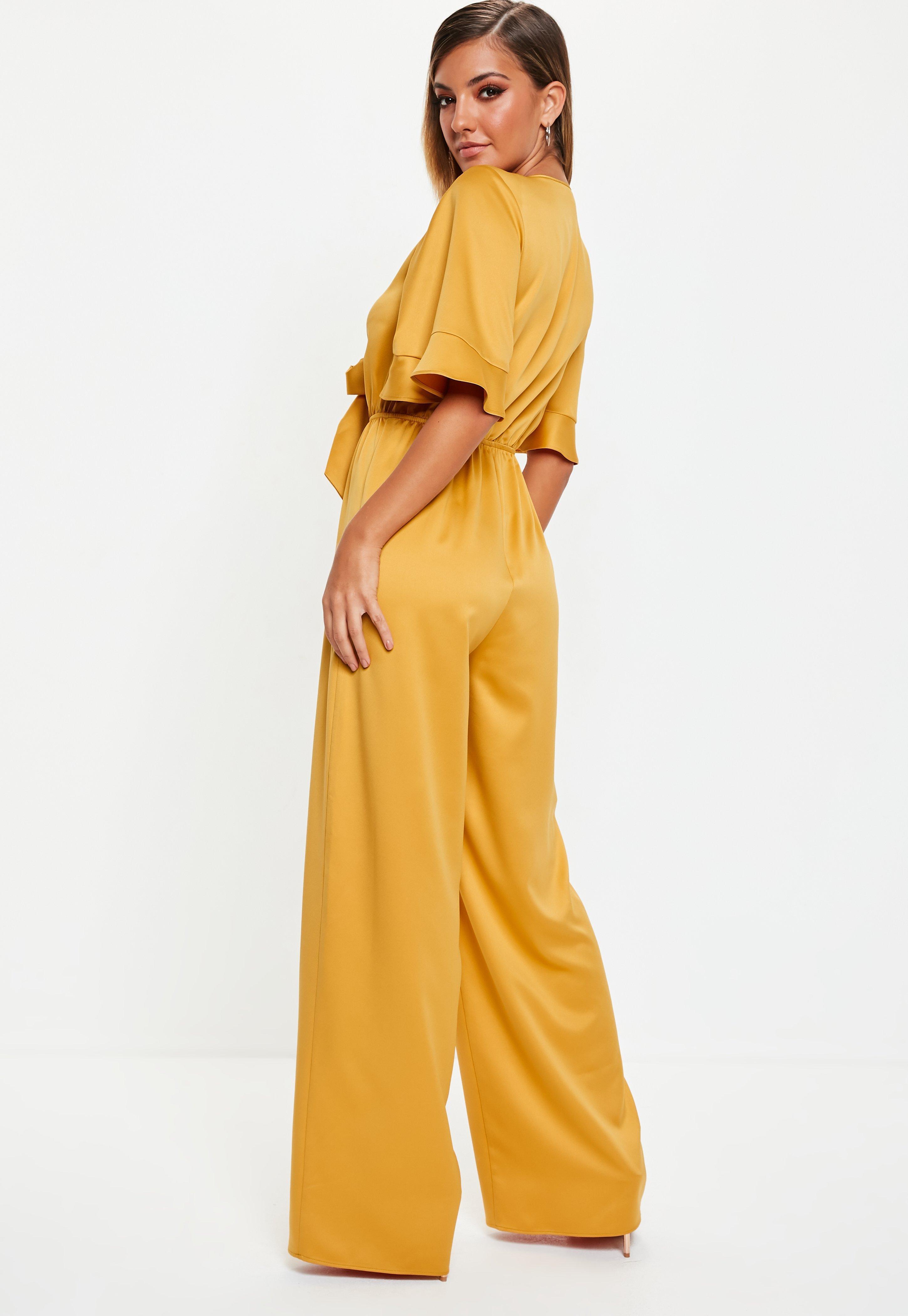 3396970b08 Missguided - Yellow Mustard Kimono Sleeve Satin Wide Leg Jumpsuit - Lyst.  View fullscreen