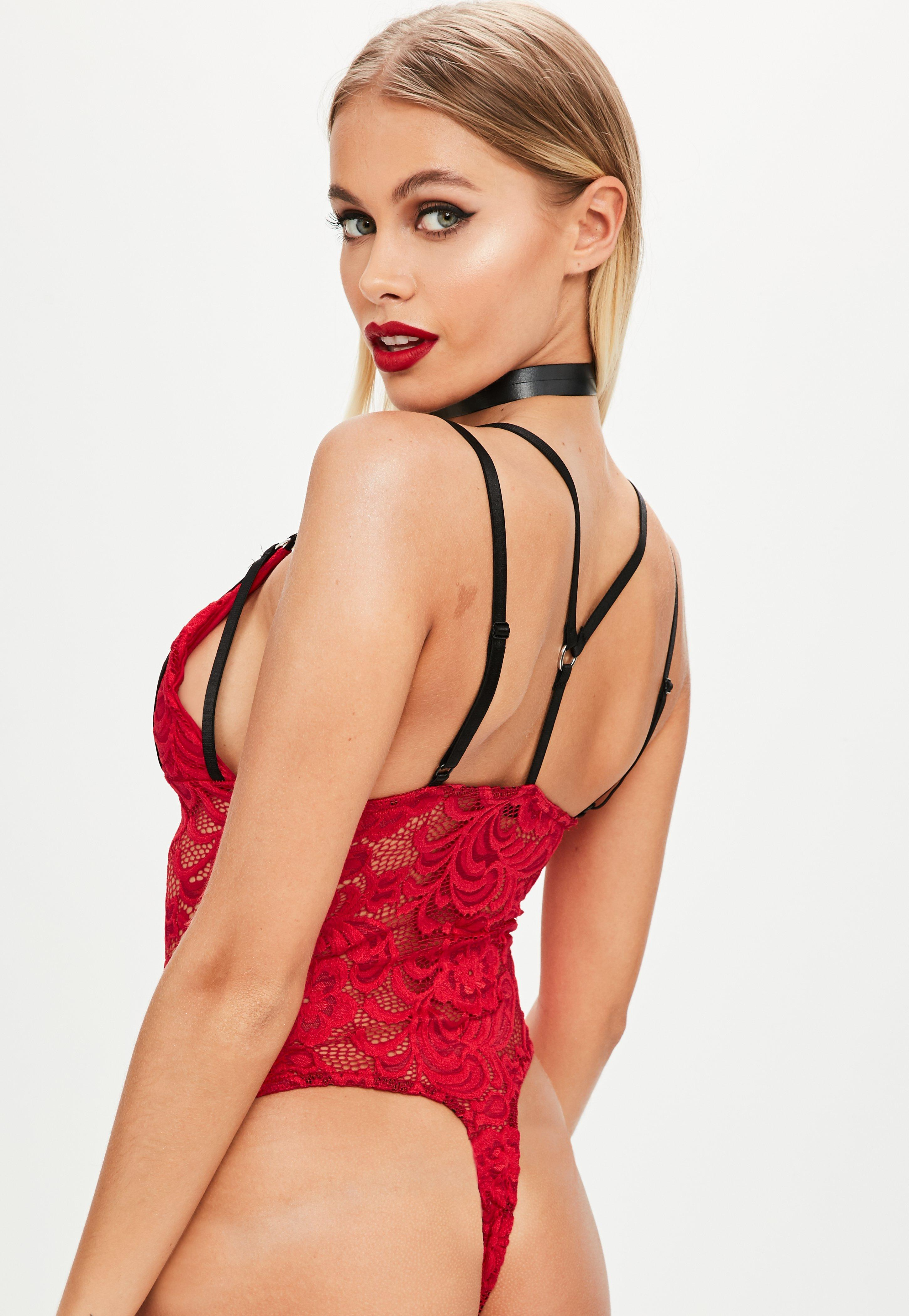 Missguided Red Harness Lace Bodysuit in Red - Lyst
