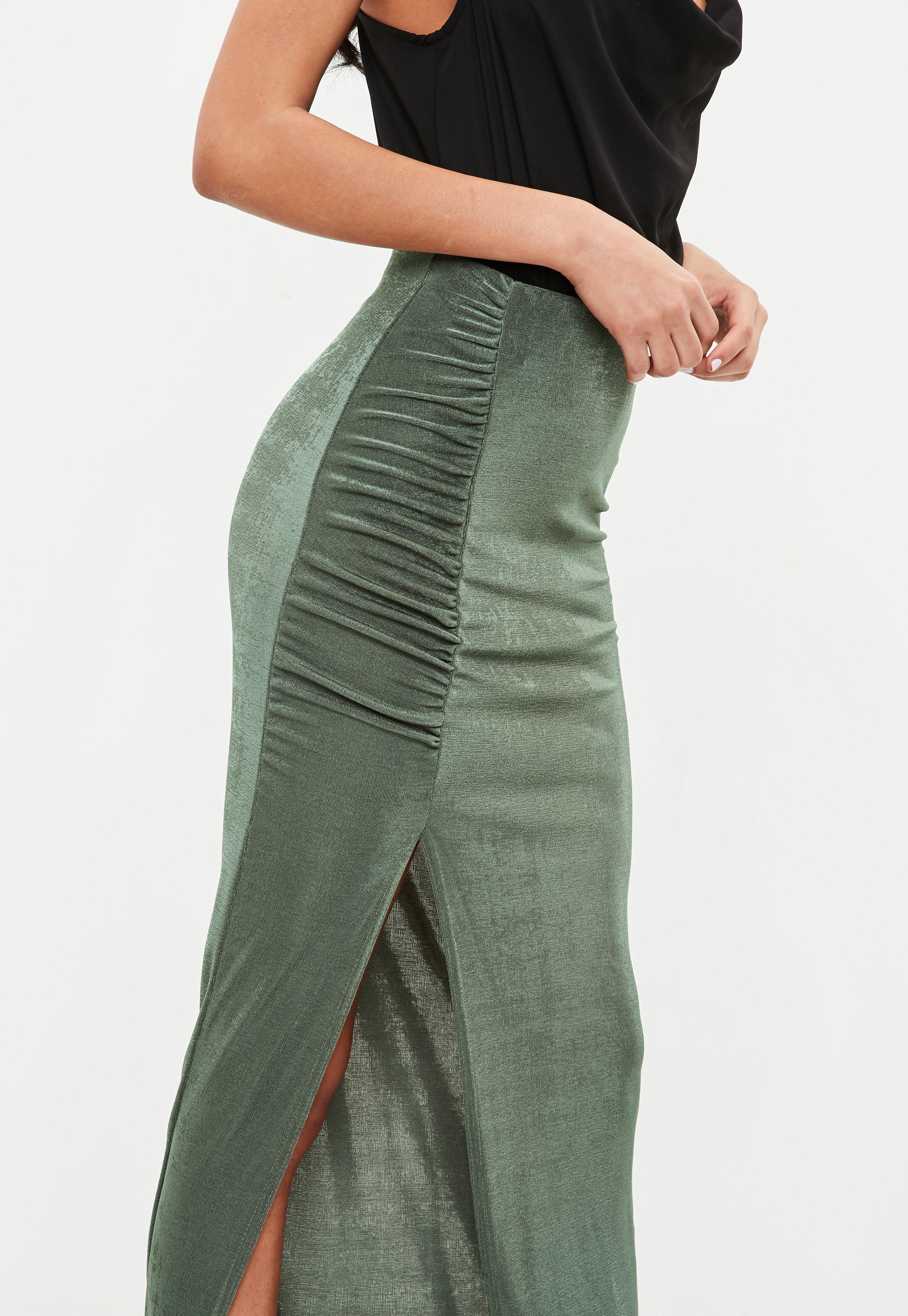 290ff2ede Green Side Split Maxi Skirt