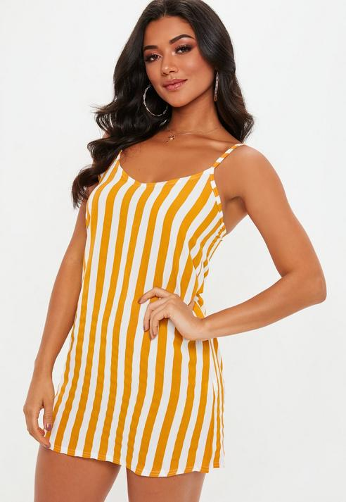 7fc3e515fa Missguided Mustard Stripe Slip Dress in Orange - Lyst