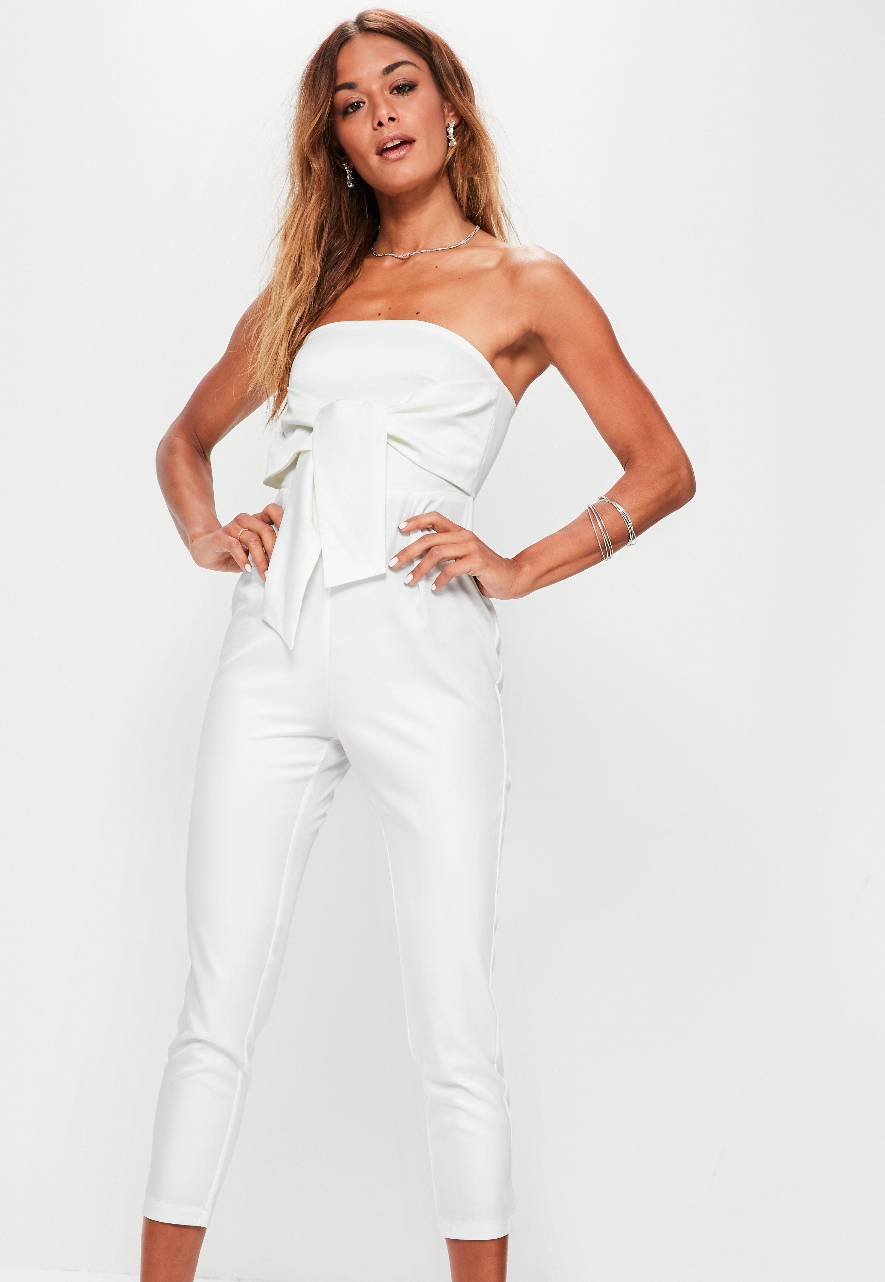 51aa2c075408 Lyst - Missguided Petite White Tie Front Bandeau Jumpsuit in White
