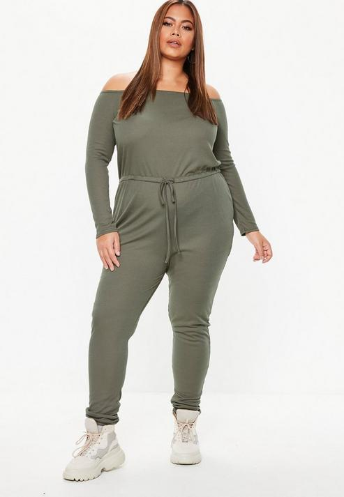 7abd804ab42 Missguided Plus Size Khaki Ribbed Bardot Jumpsuit in Green - Lyst