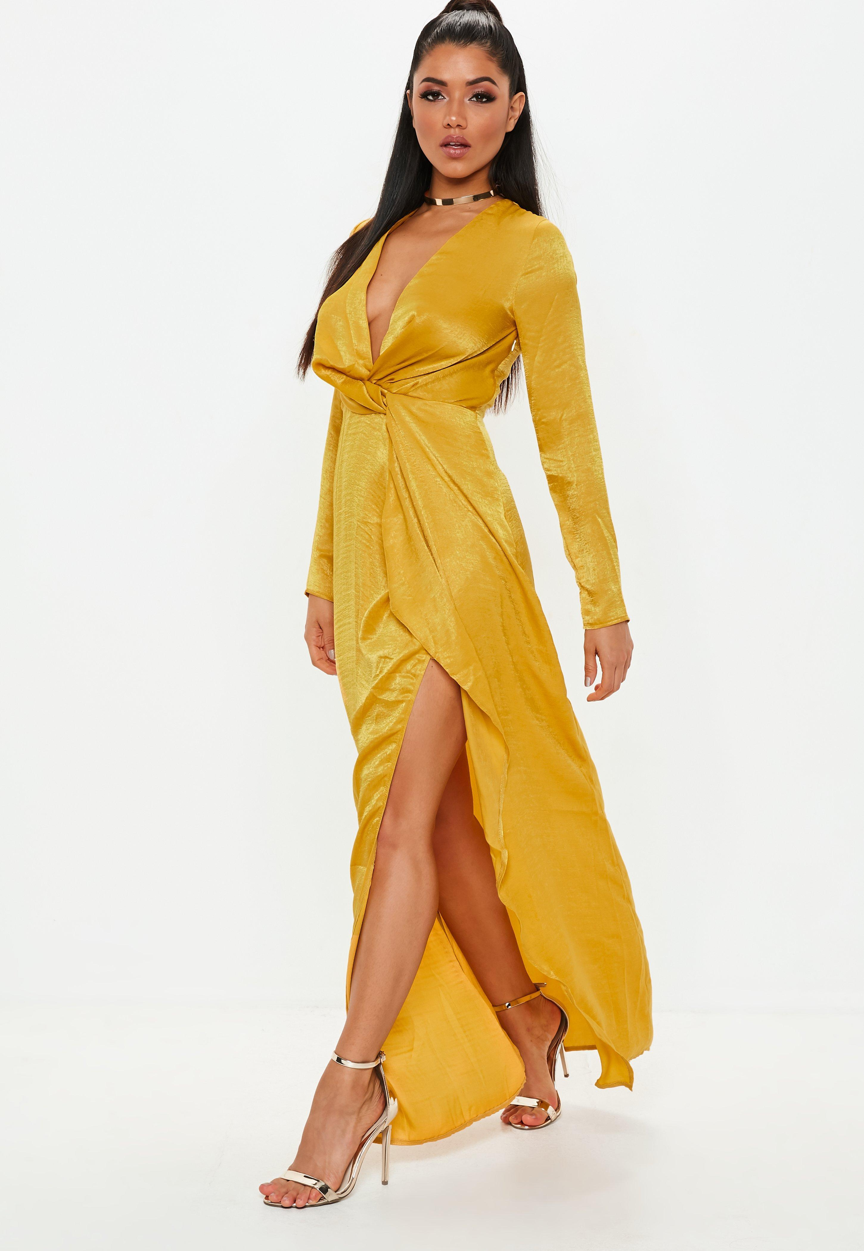 4cc24f591684 Missguided - Yellow Mustard Wrap Front Maxi Dress - Lyst. View fullscreen