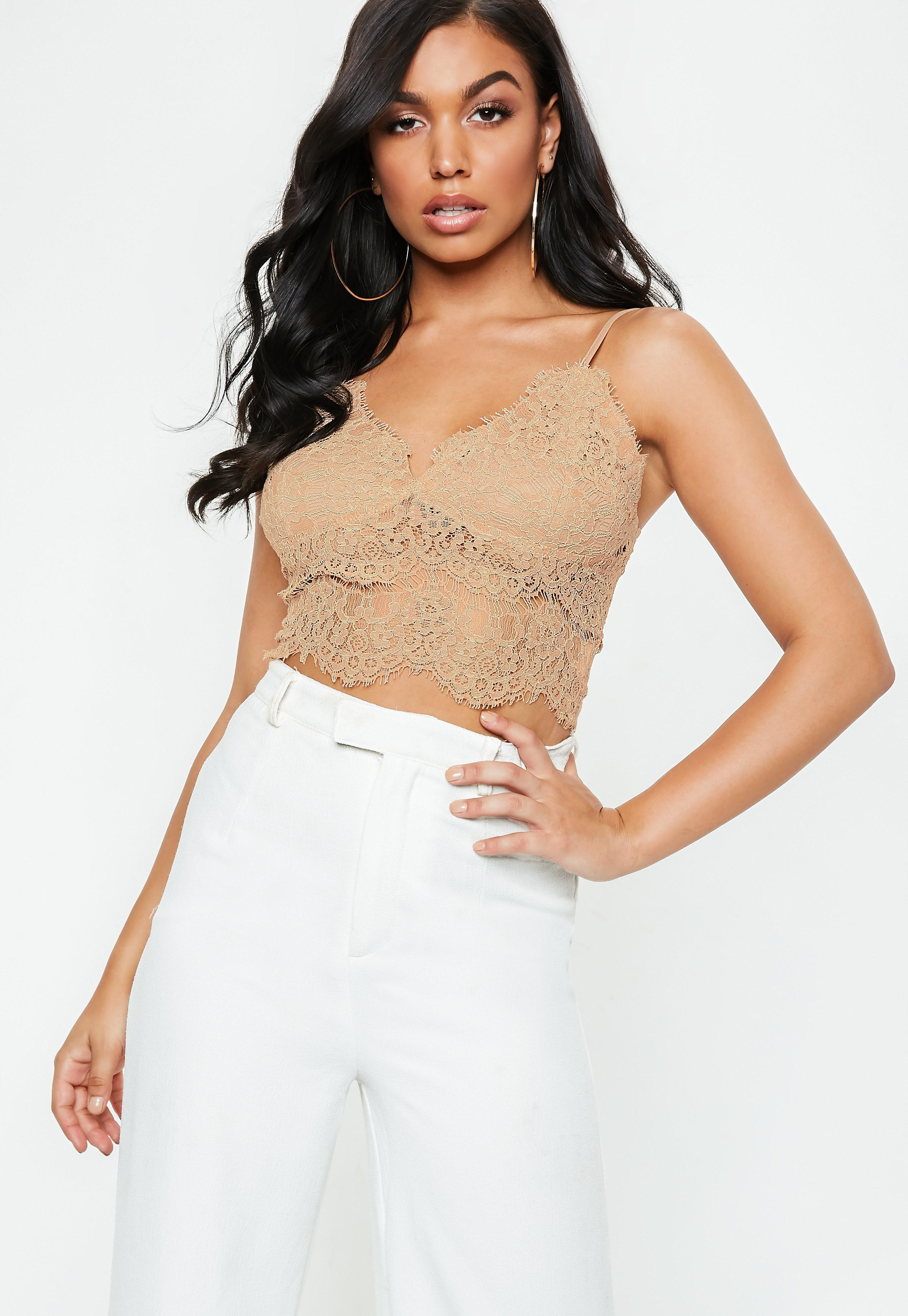 7457188664 Lyst - Missguided Nude Corded Lace Cami Top in Natural