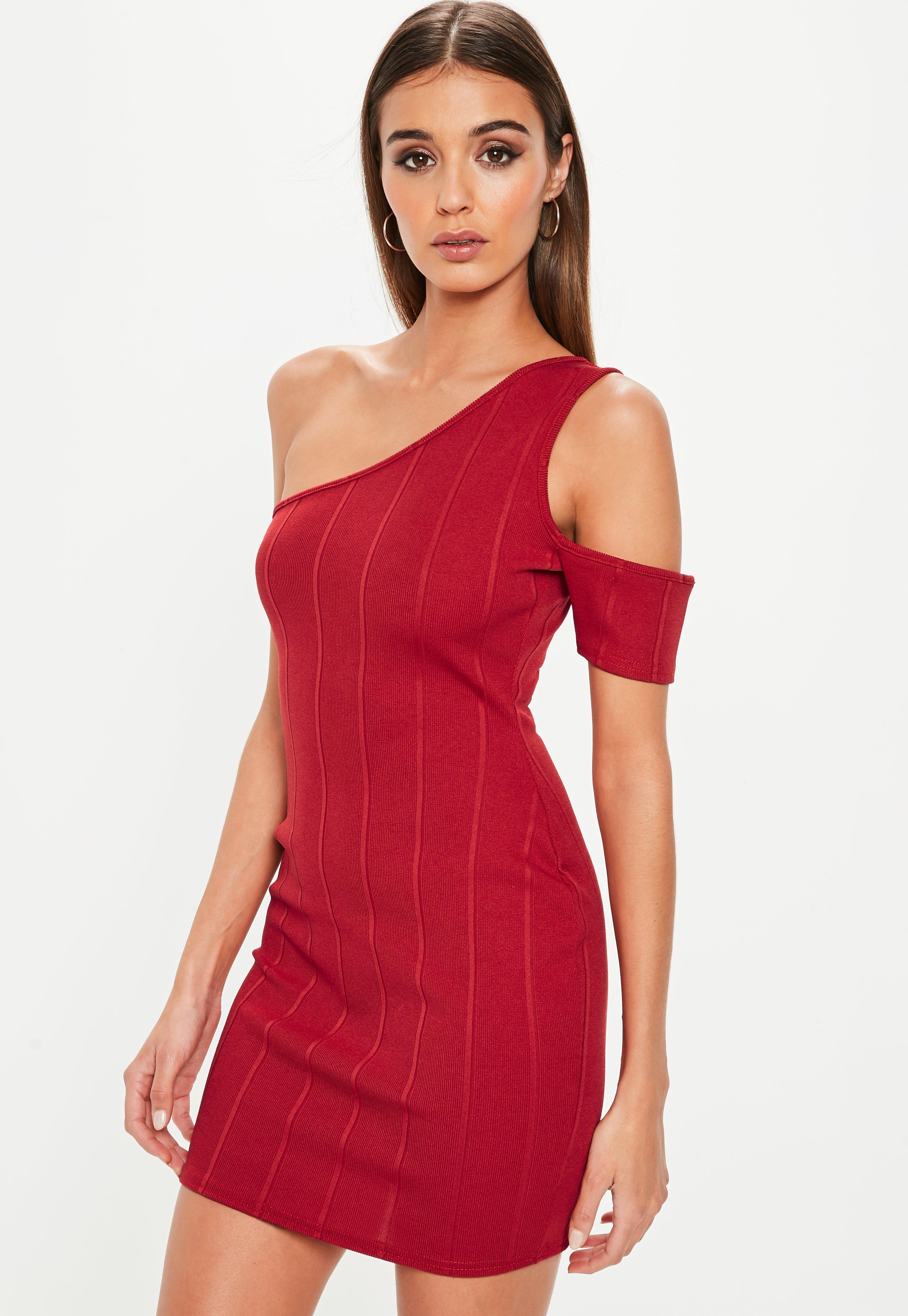 e702a72daa8 Missguided Red One Shoulder Bandage Cut Out Bodycon Mini Dress in ...