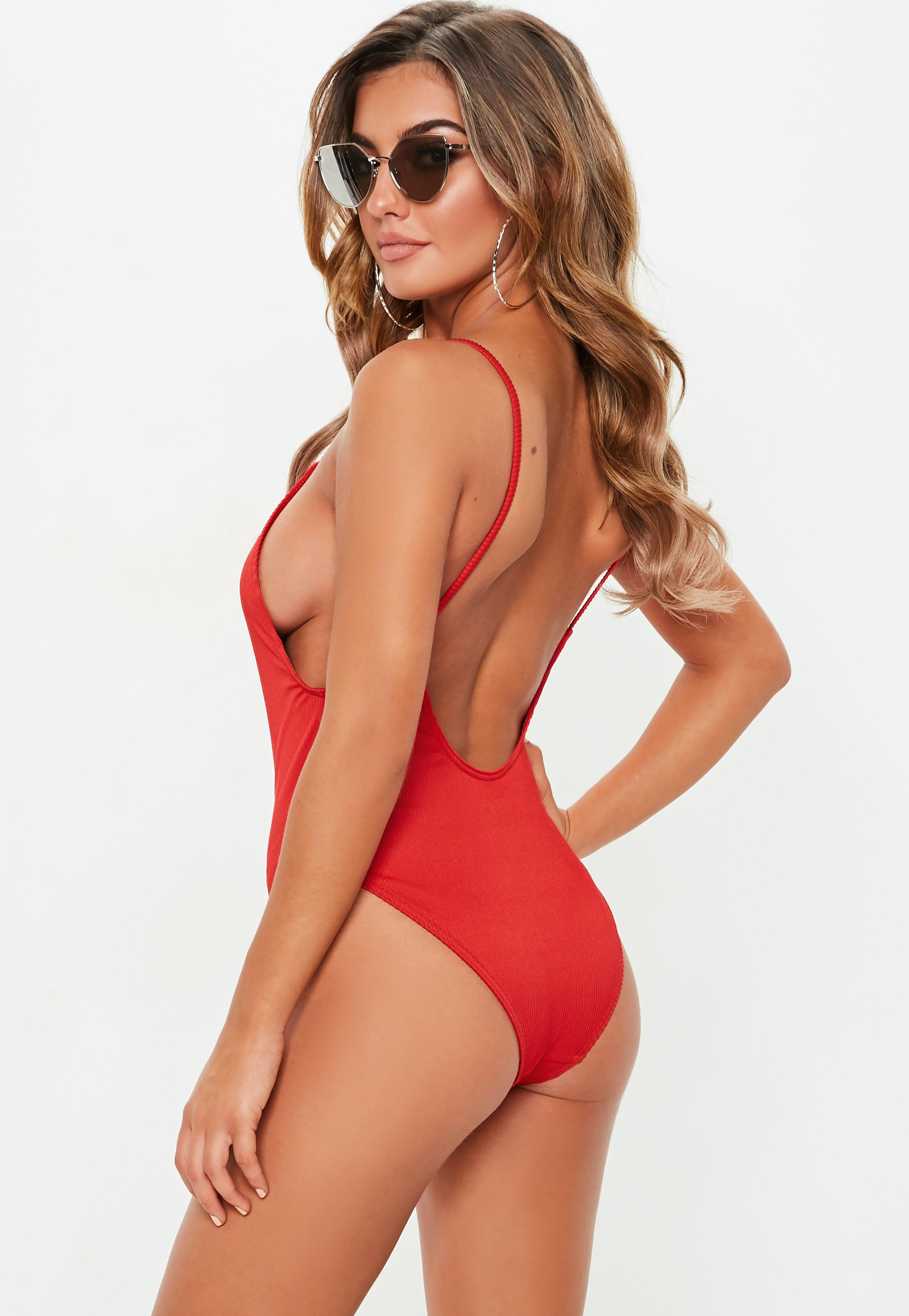 fb897f2c913f7 Missguided - Red Ribbed Zipper Front High Leg Swimsuit - Lyst. View  fullscreen