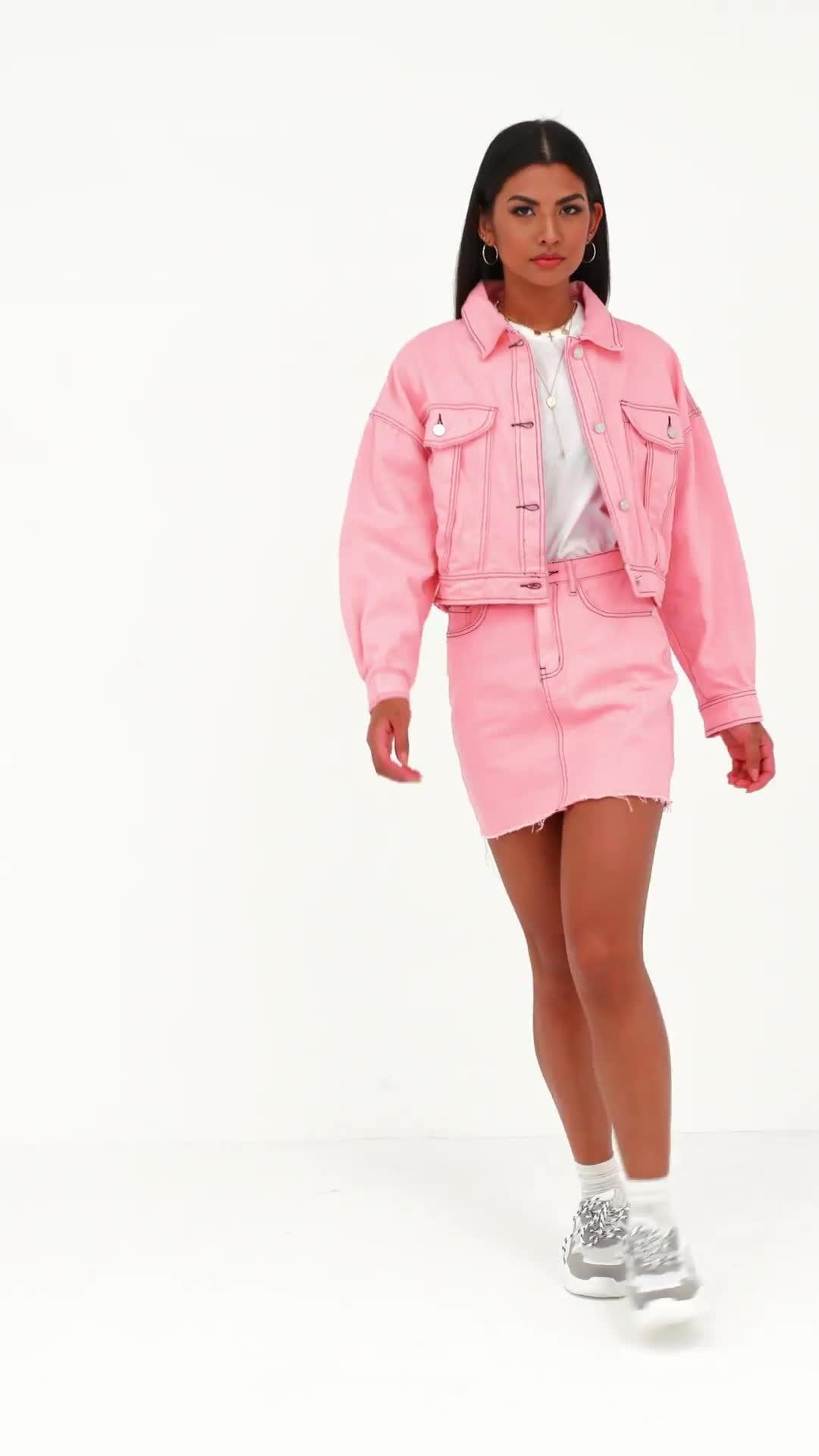 8d8a39e7b734 Missguided - Pink Denim Cropped Contrast Stitch Co Ord Jacket - Lyst. View  fullscreen .