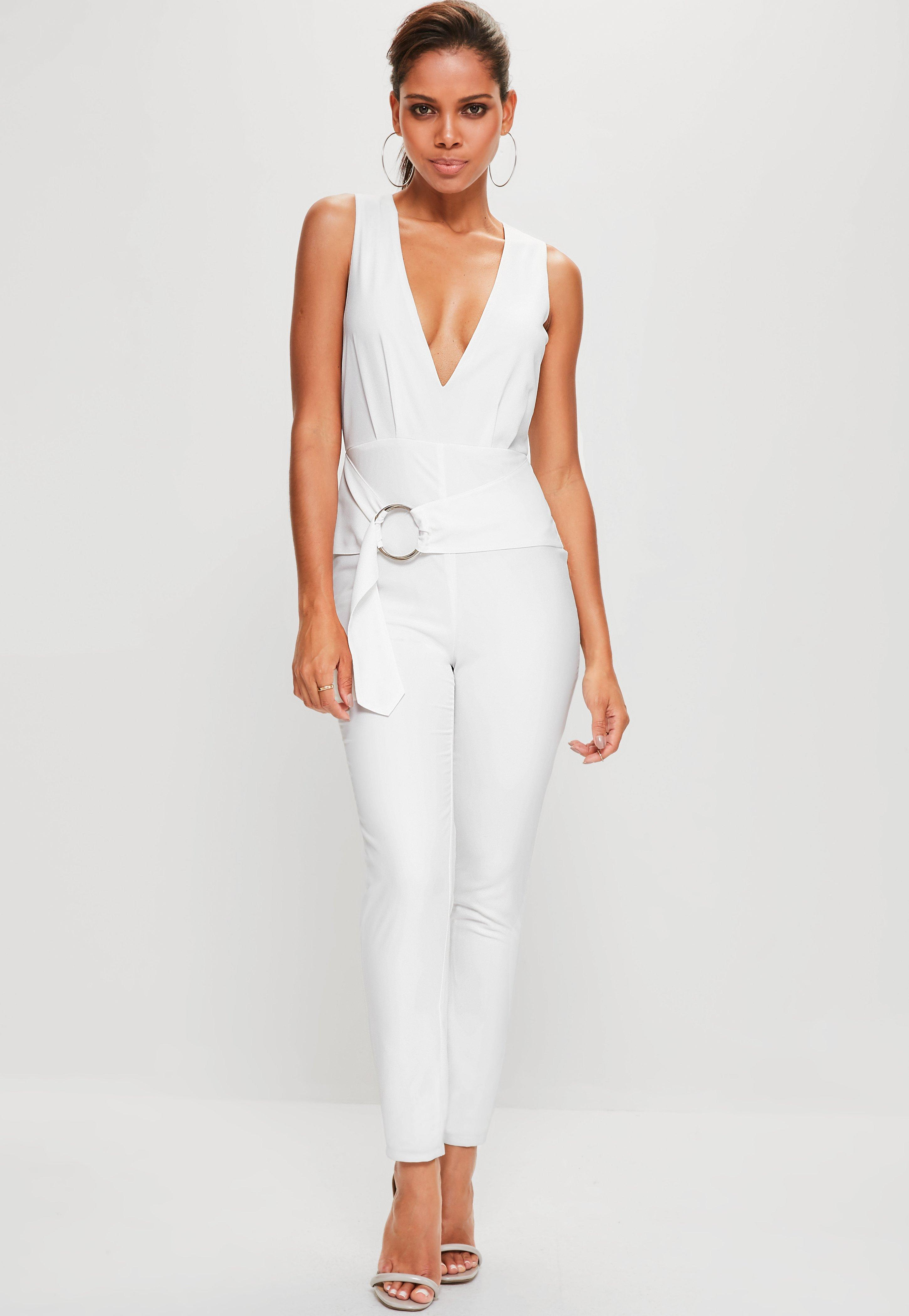 ee21693cd4f4 Lyst - Missguided White Hoop Detail Plunge Sleeveless Jumpsuit in White