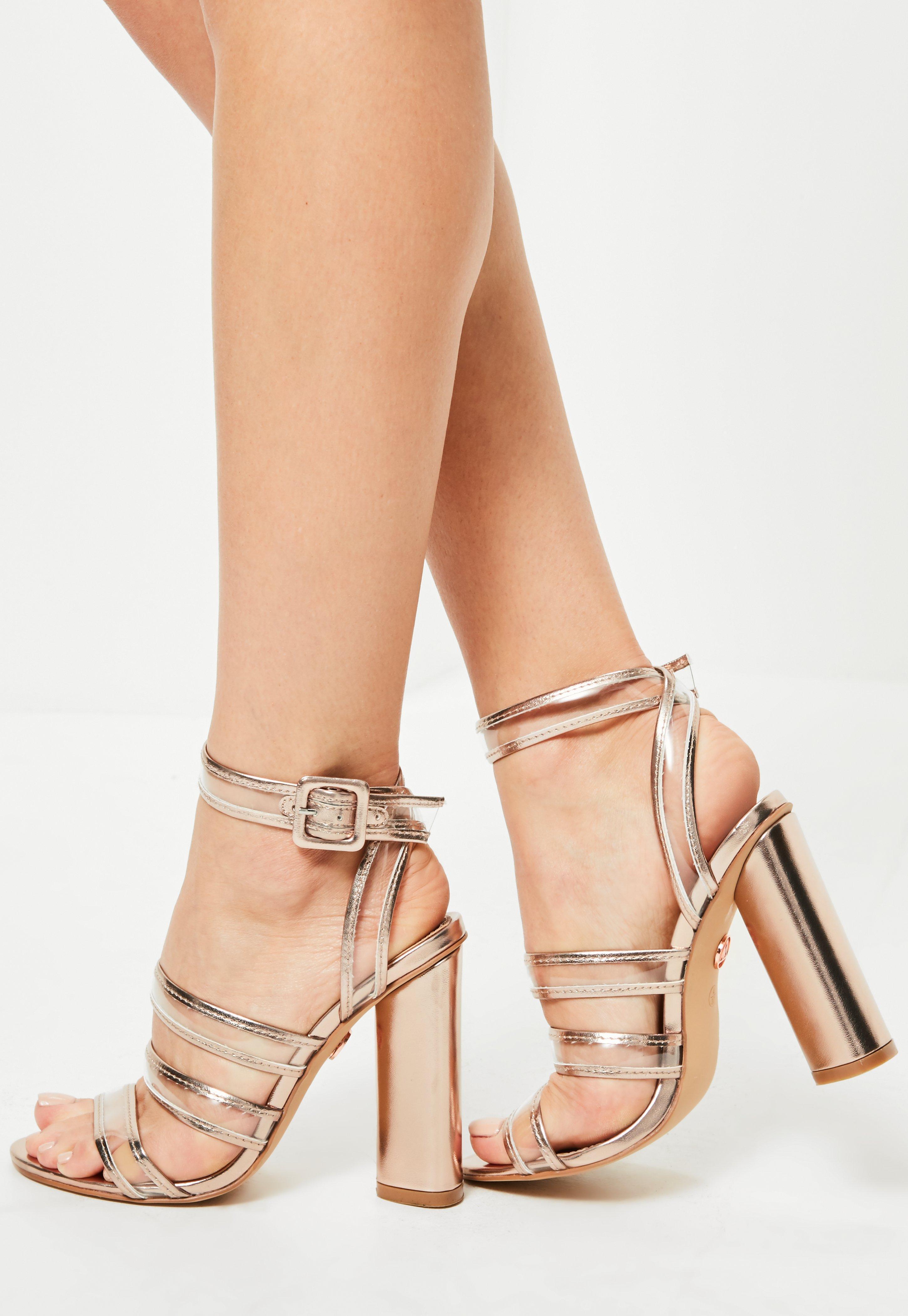 ce4c5403c1e8e Lyst - Missguided Rose Gold Clear Multi Strap Block Heeled Sandals ...