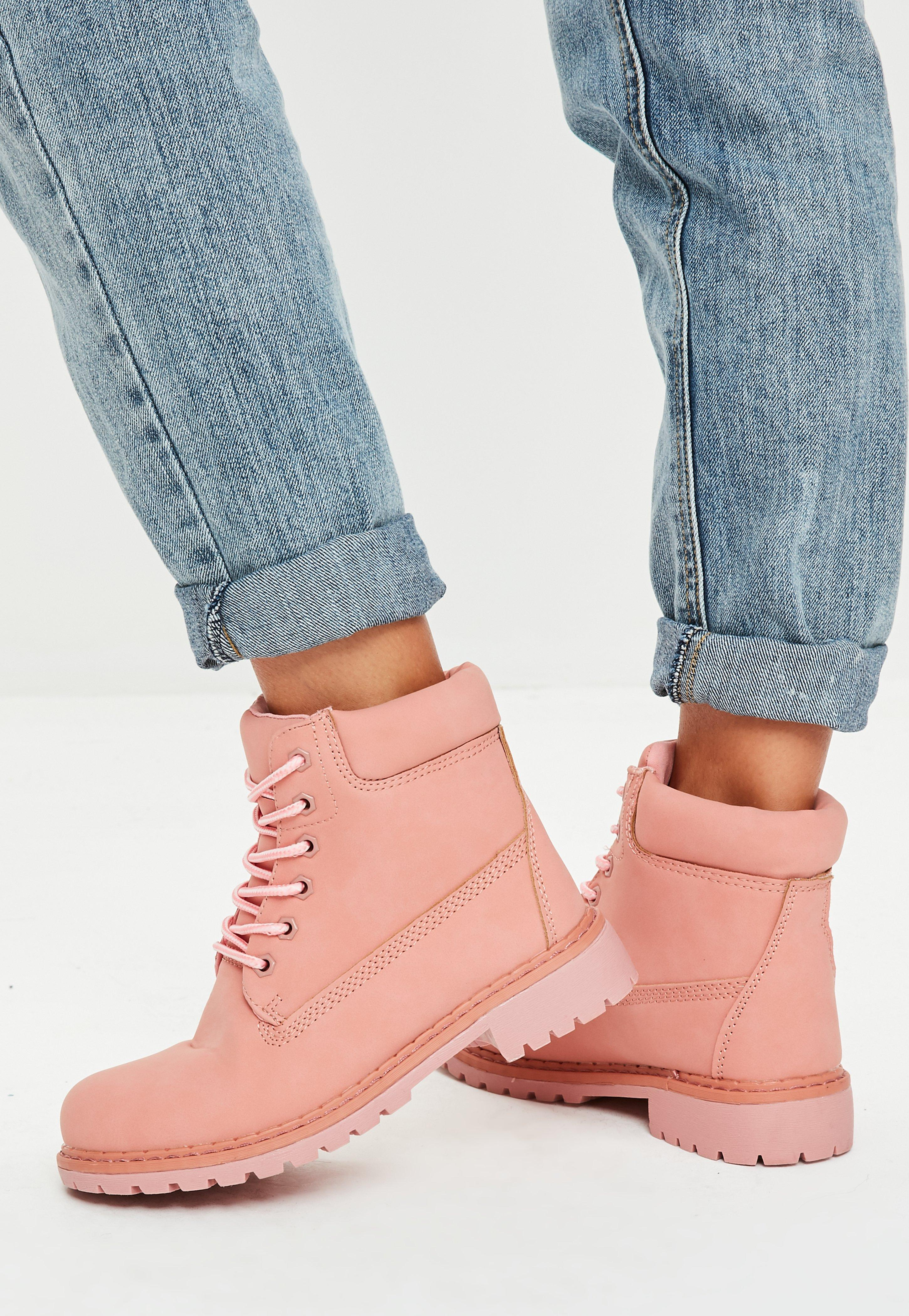 Missguided Pink Trucker Boots
