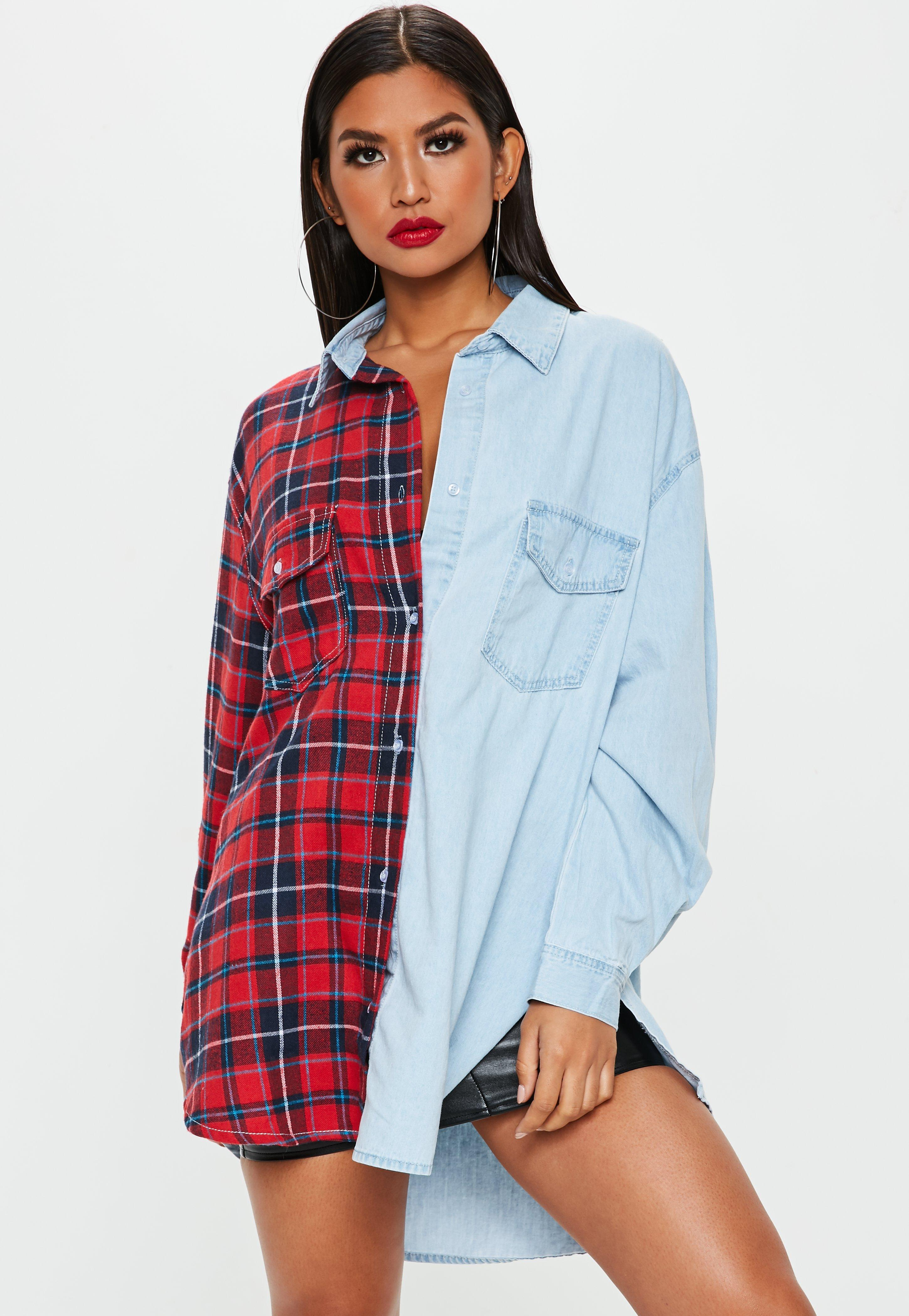7dee8a99507479 Lyst - Missguided Oversized Check And Denim Shirt In Multi in Blue