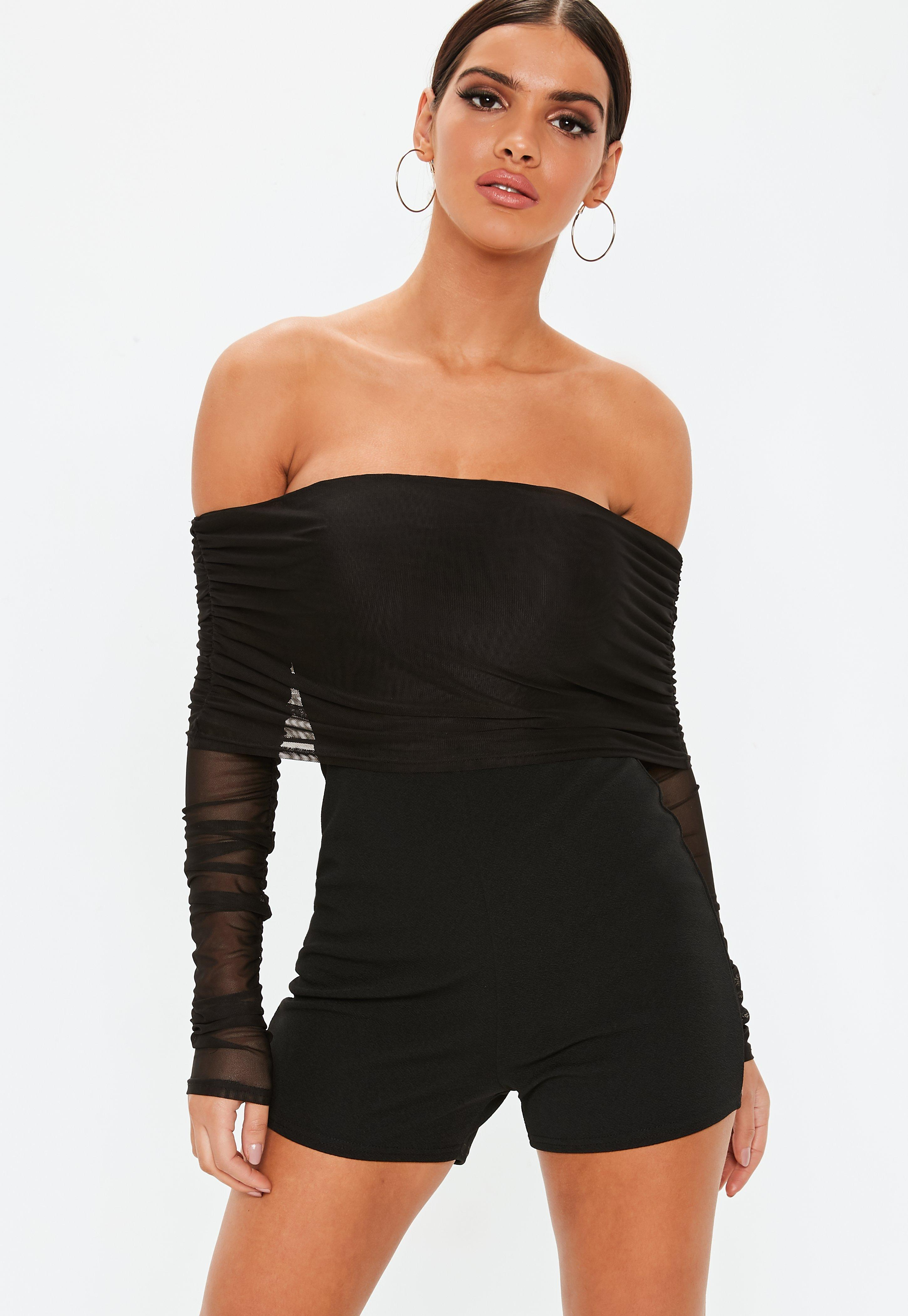 02ae3c416f Lyst - Missguided Black Bardot Mesh Ruched Long Sleeve Romper in Black