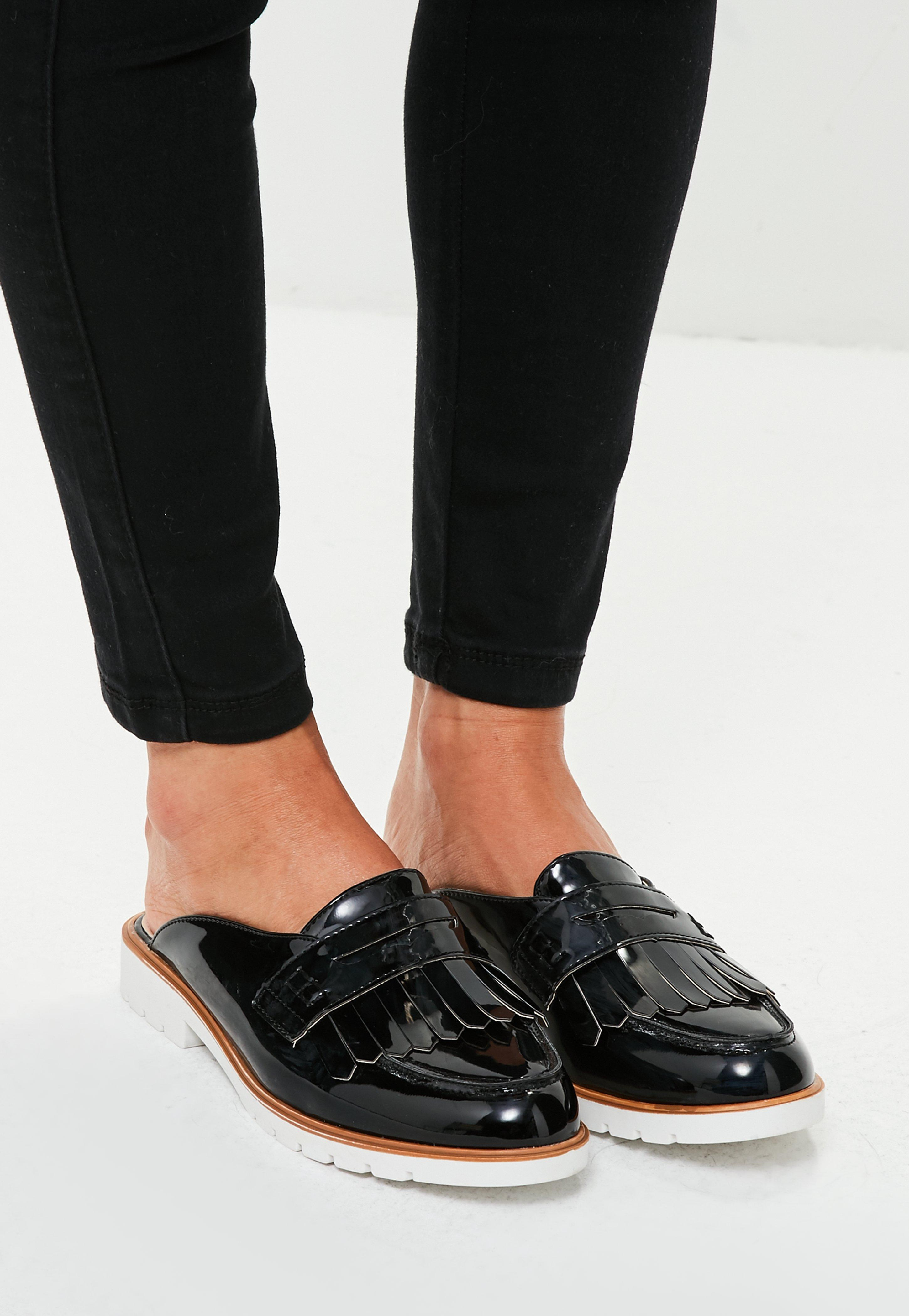 Missguided Black Open Back Loafers - Lyst