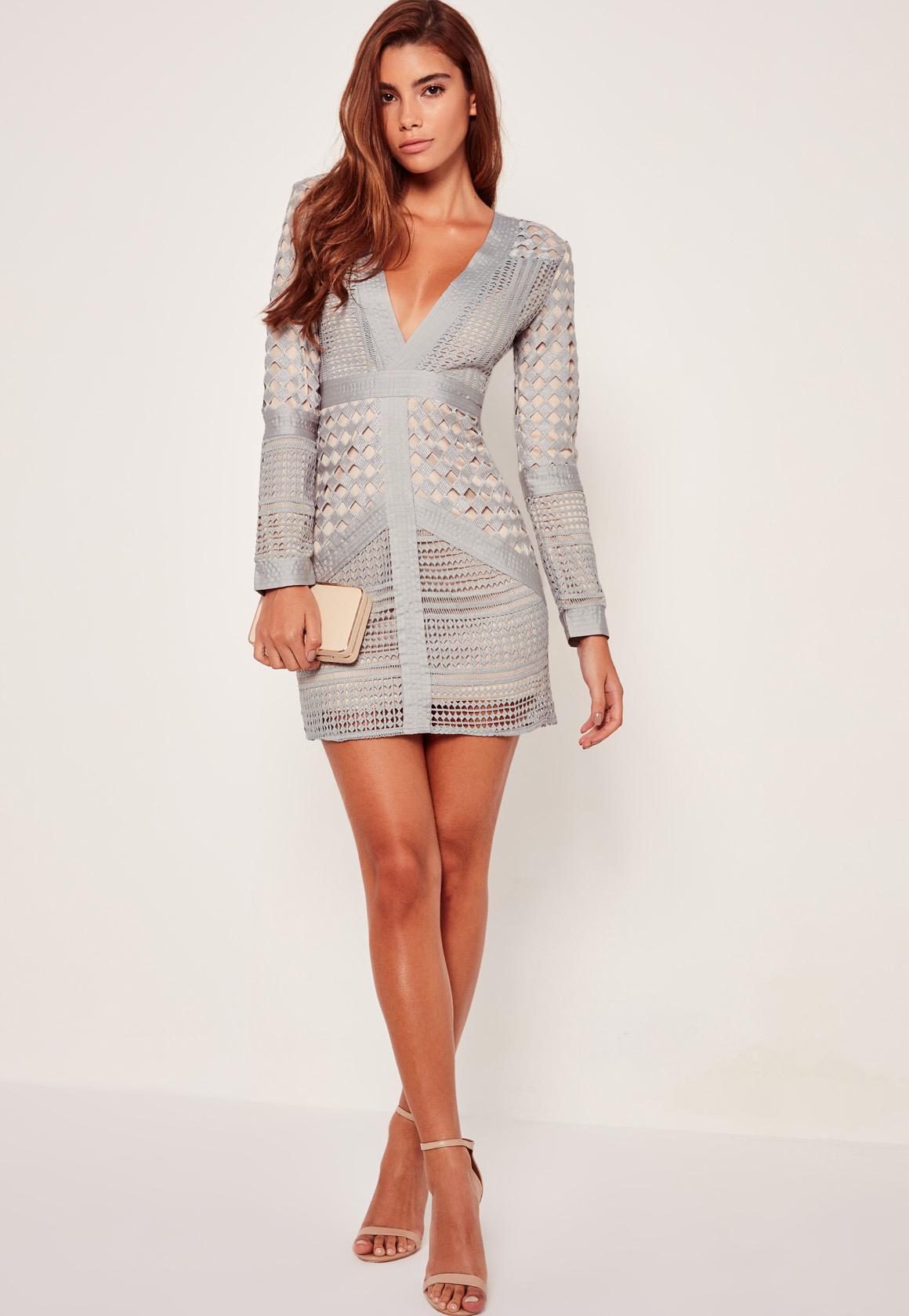 Lace Plunge Bodycon Dress Grey