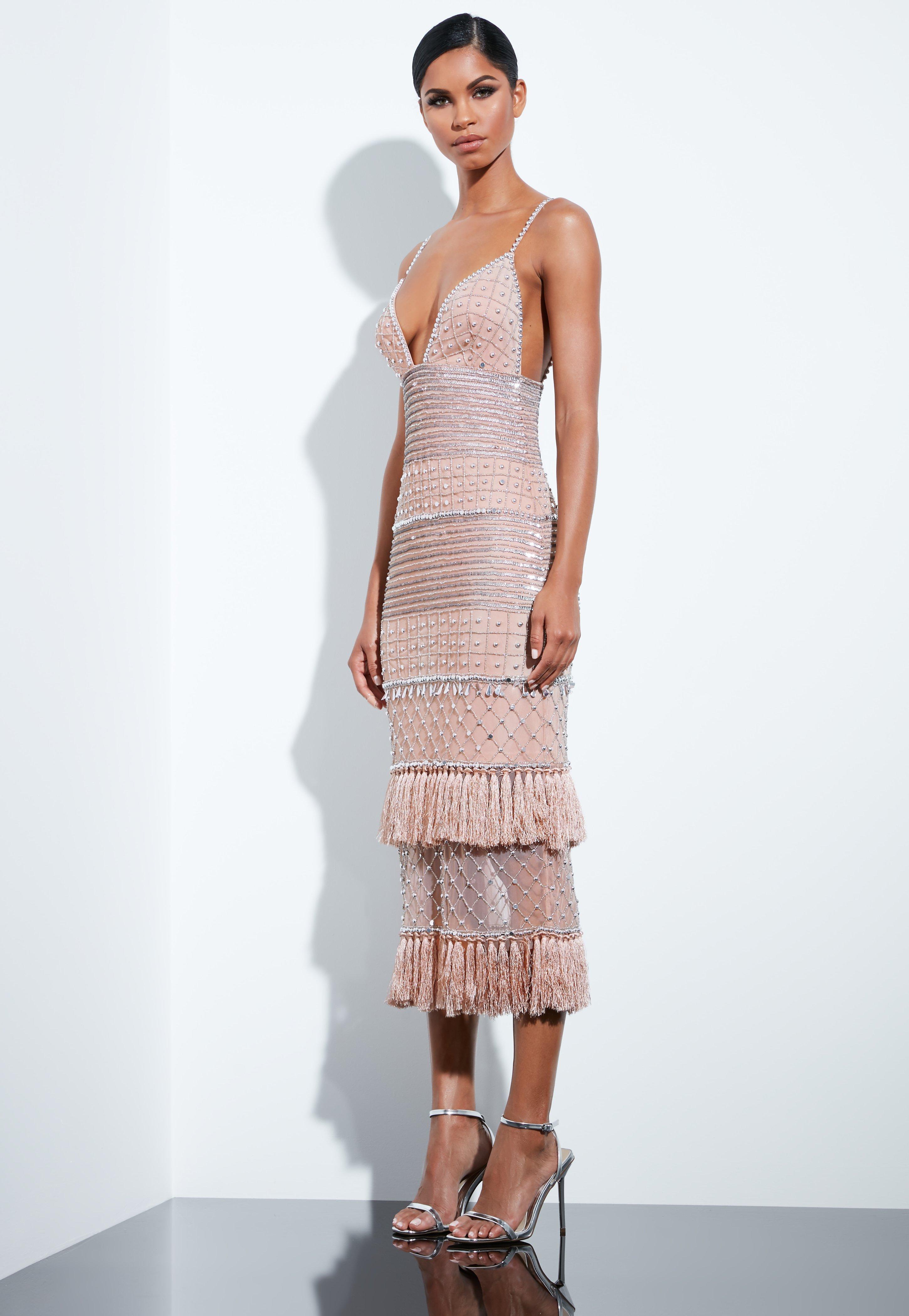 87c5c08c0b Missguided Peace + Love Nude Beaded Tassel Midi Dress - Lyst