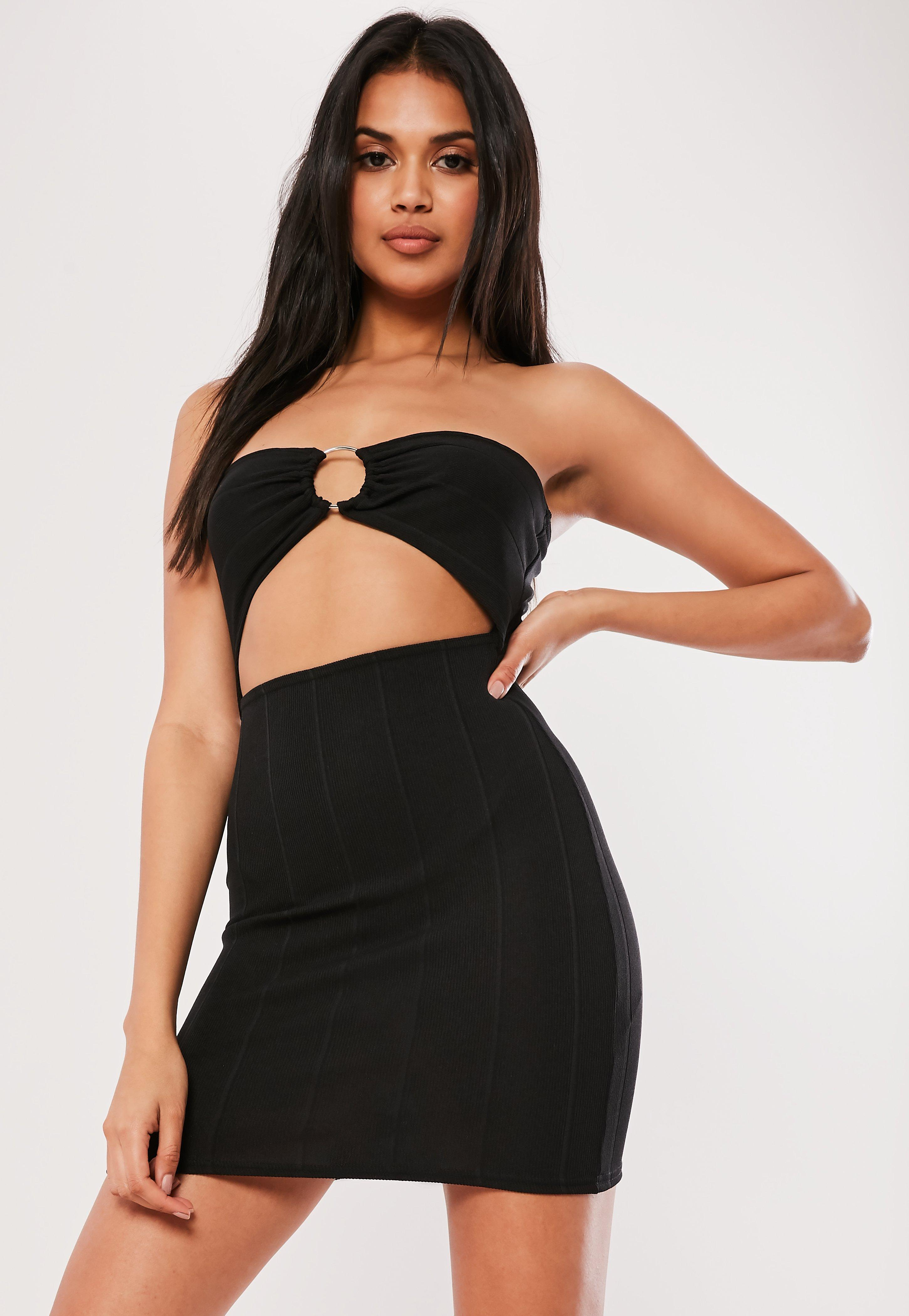 b37a6bb8cad Missguided Black Bandeau Ring Detail Cut Out Mini Dress in Black - Lyst