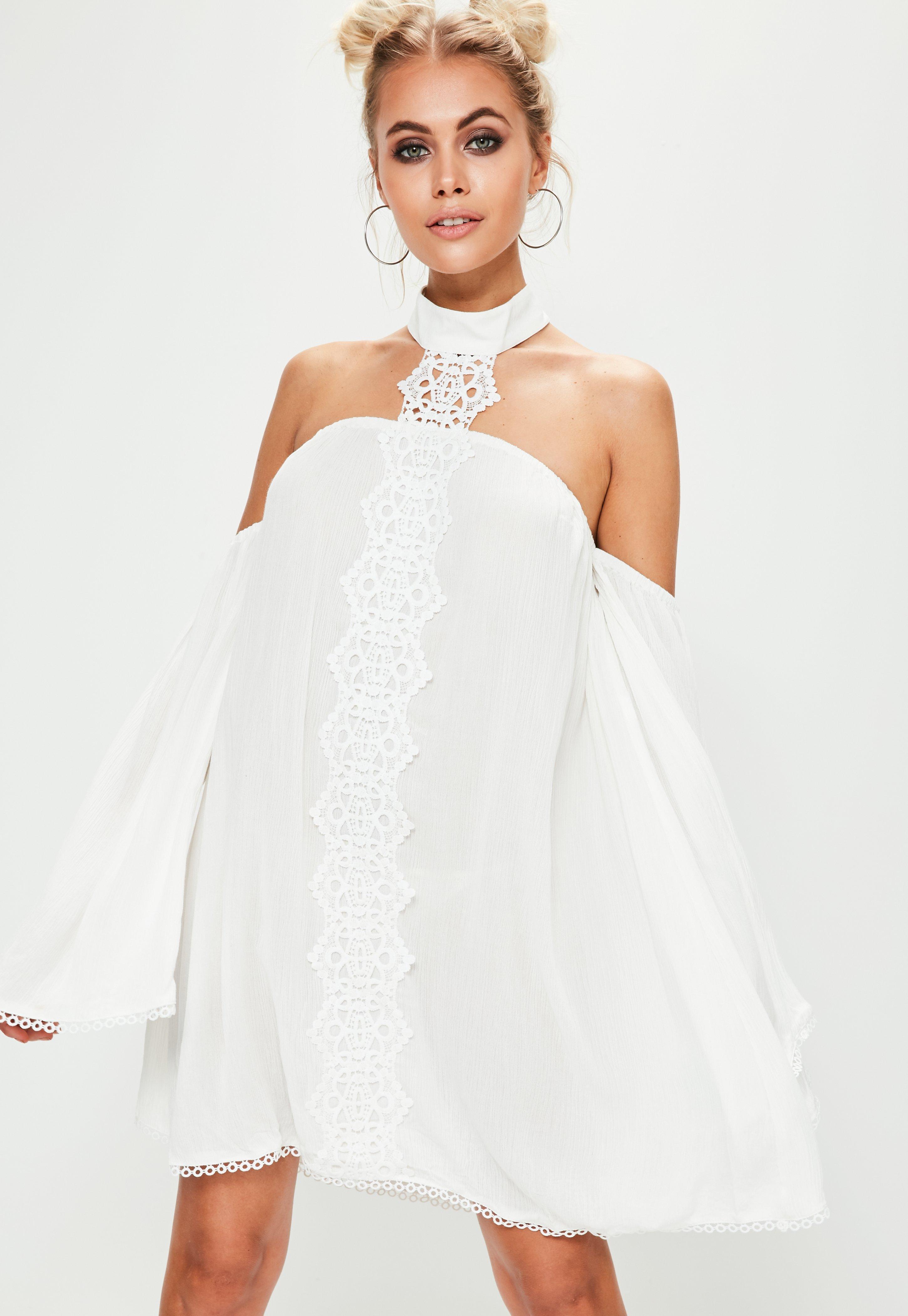 cf632a08e878 Lyst - Missguided White Lace Choker Neck Bardot Shift Dress in White