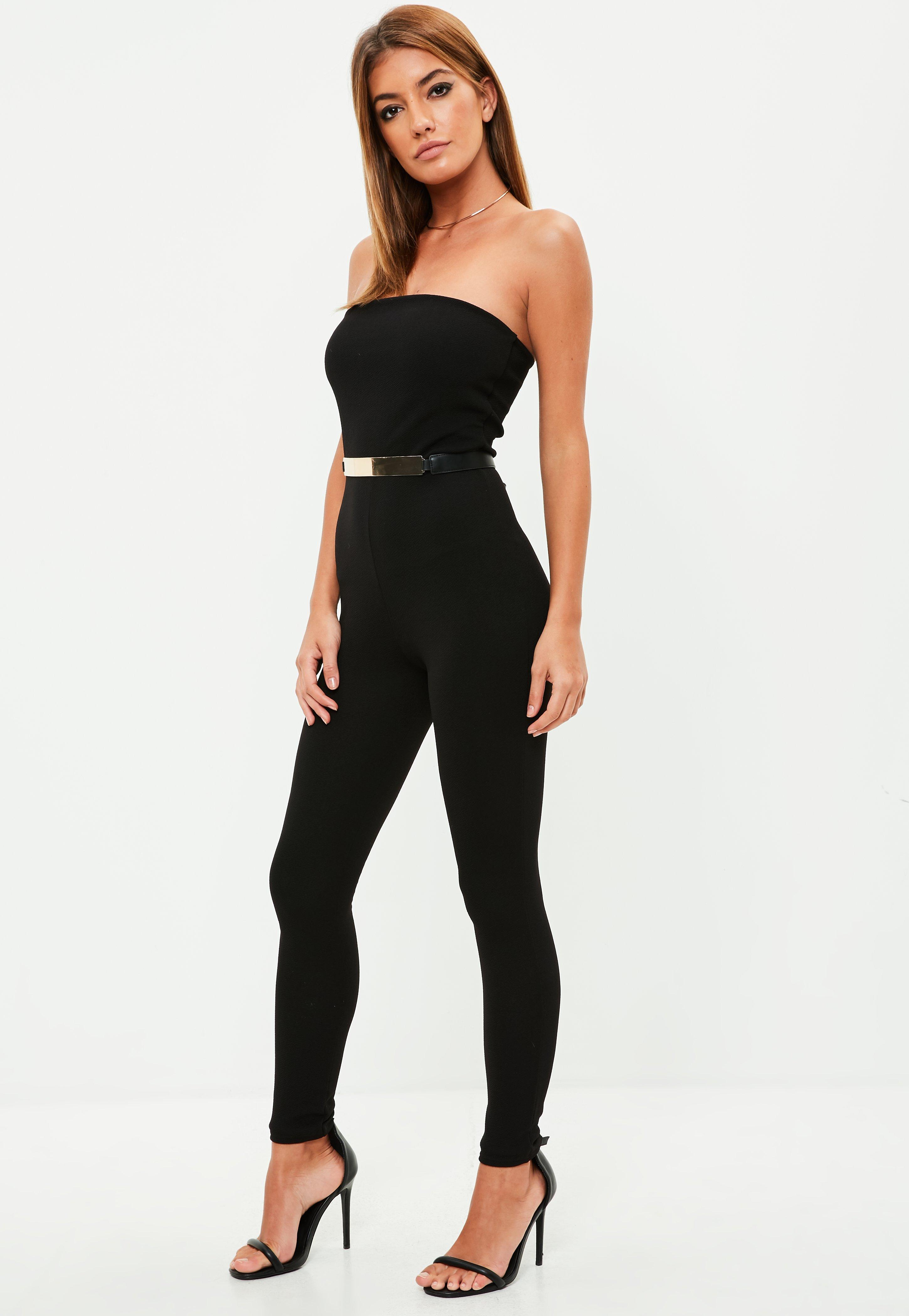 596f9704d921 Missguided Black Bandeau Crepe Straight Leg Unitard in Black - Lyst