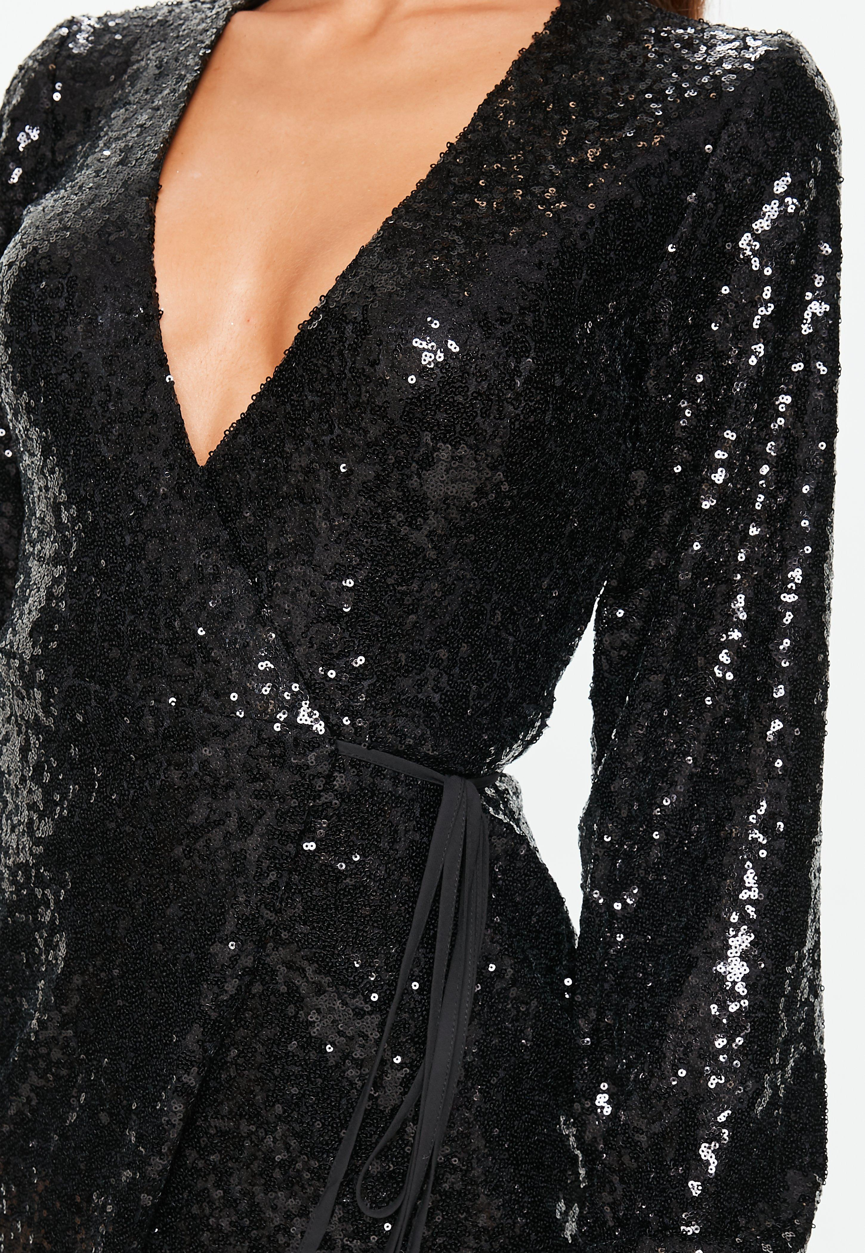 0e53e1d9 Missguided - Black Sequin Wrap Mini Dress - Lyst. View fullscreen