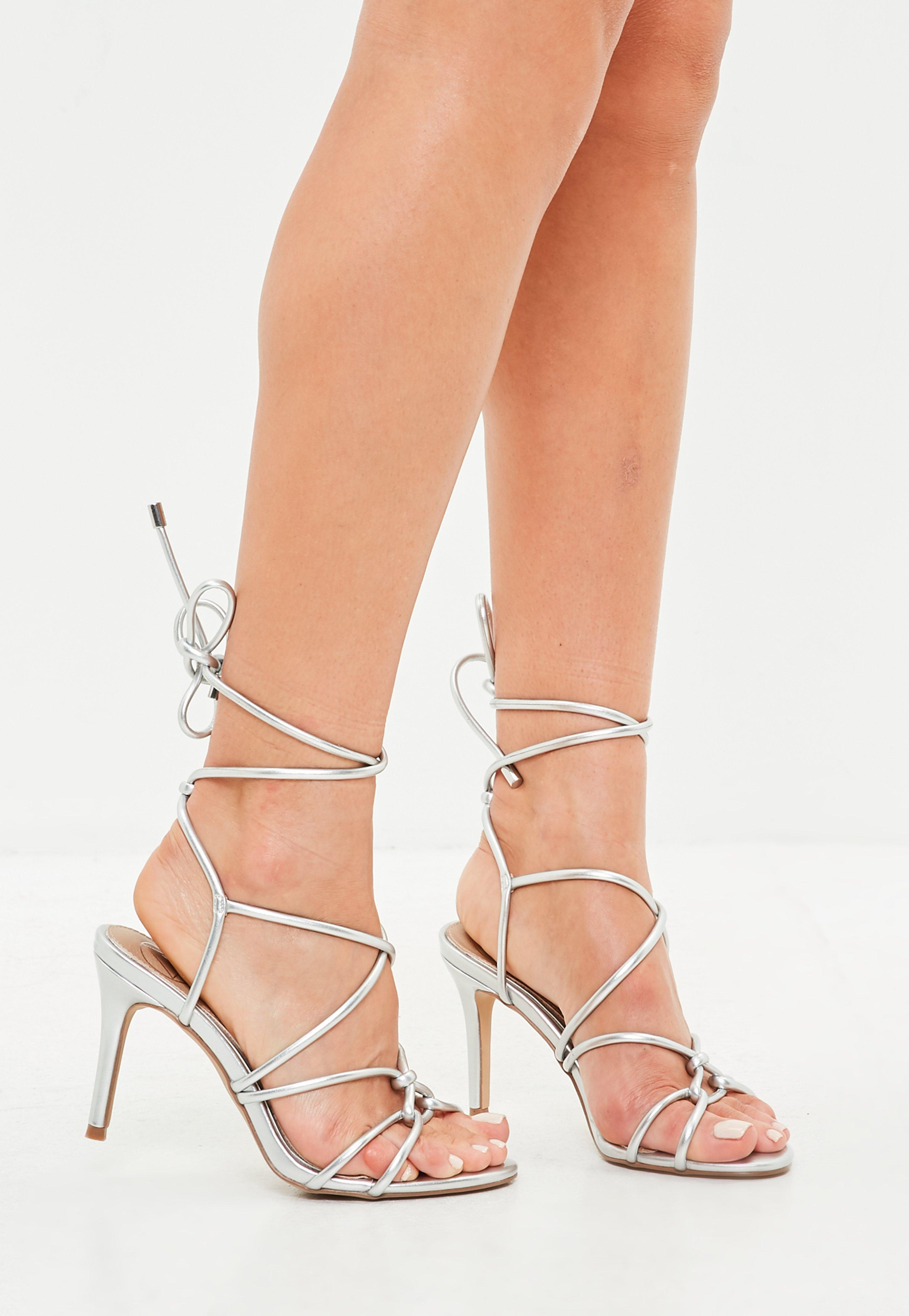 1b4742f79fc Lyst - Missguided Silver Multi Strap Gladiator Mid Heel Sandals in ...